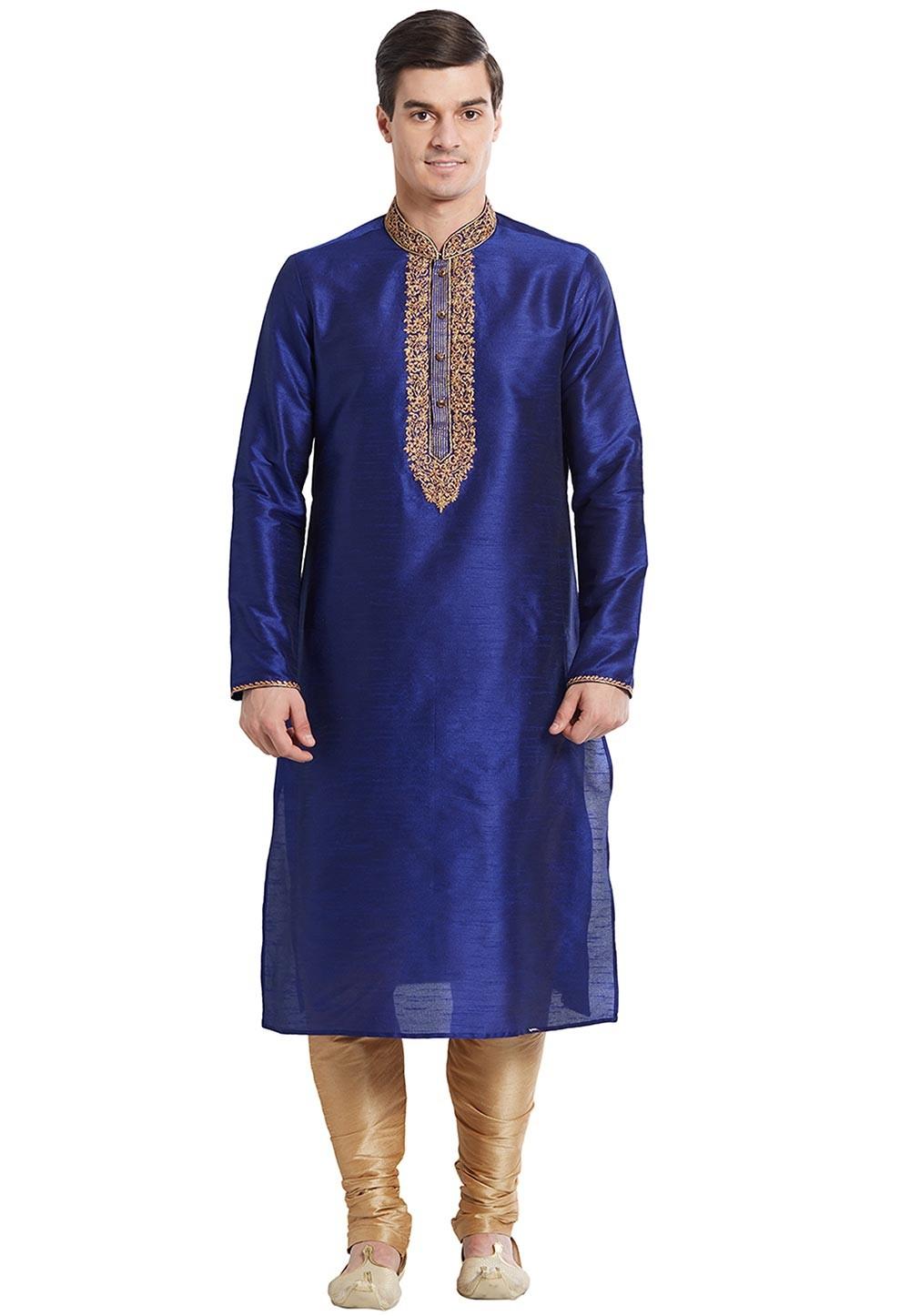 Blue Color Silk Designer Kurta Pajama With Embroidery Work