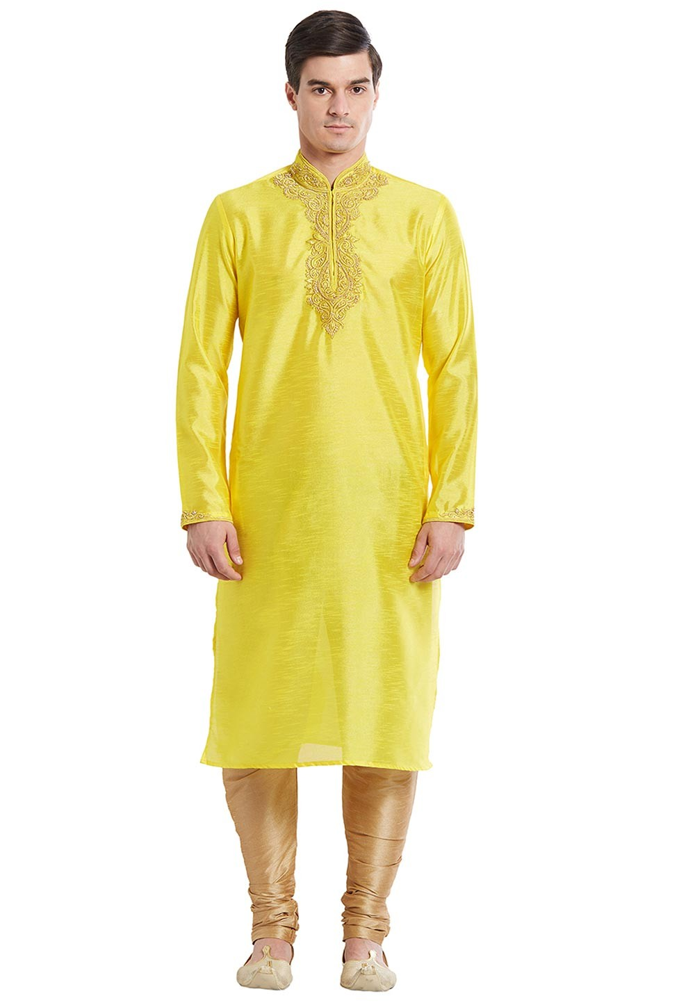 Men's Yellow Color Silk readymade Kurta Pyjama With Embroidery Work