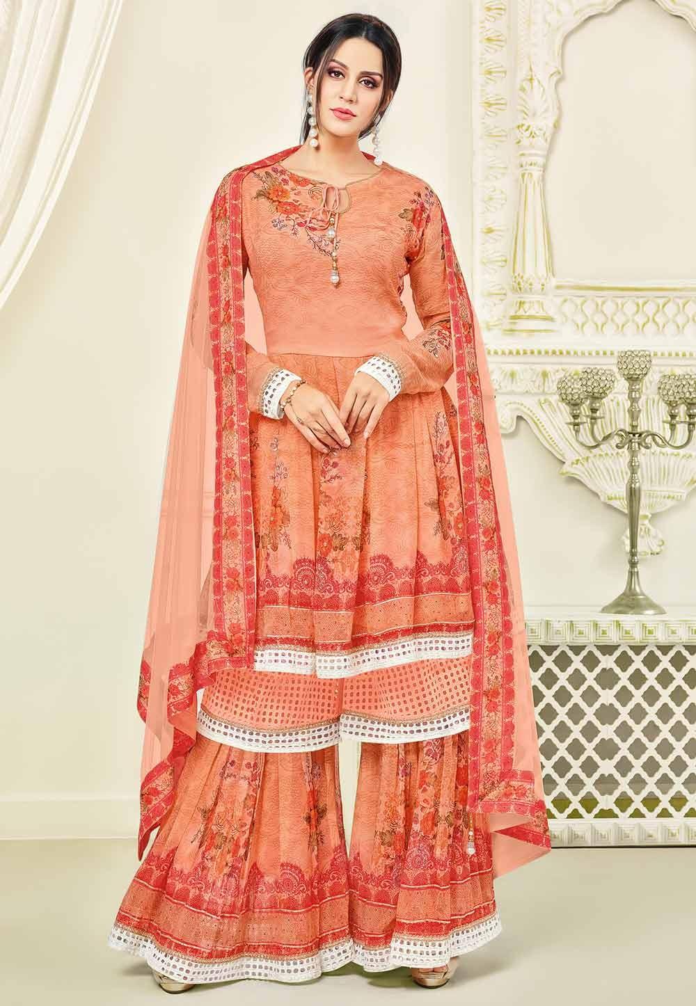 Sharara Style Astounding Salwar Kameez in Orange Color & Georgette Fabric