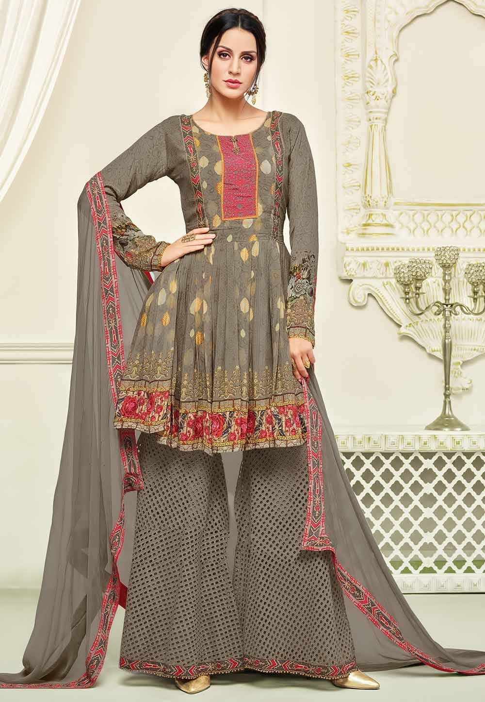 Brown Color Georgette Fabric Designer Salwar Kameez