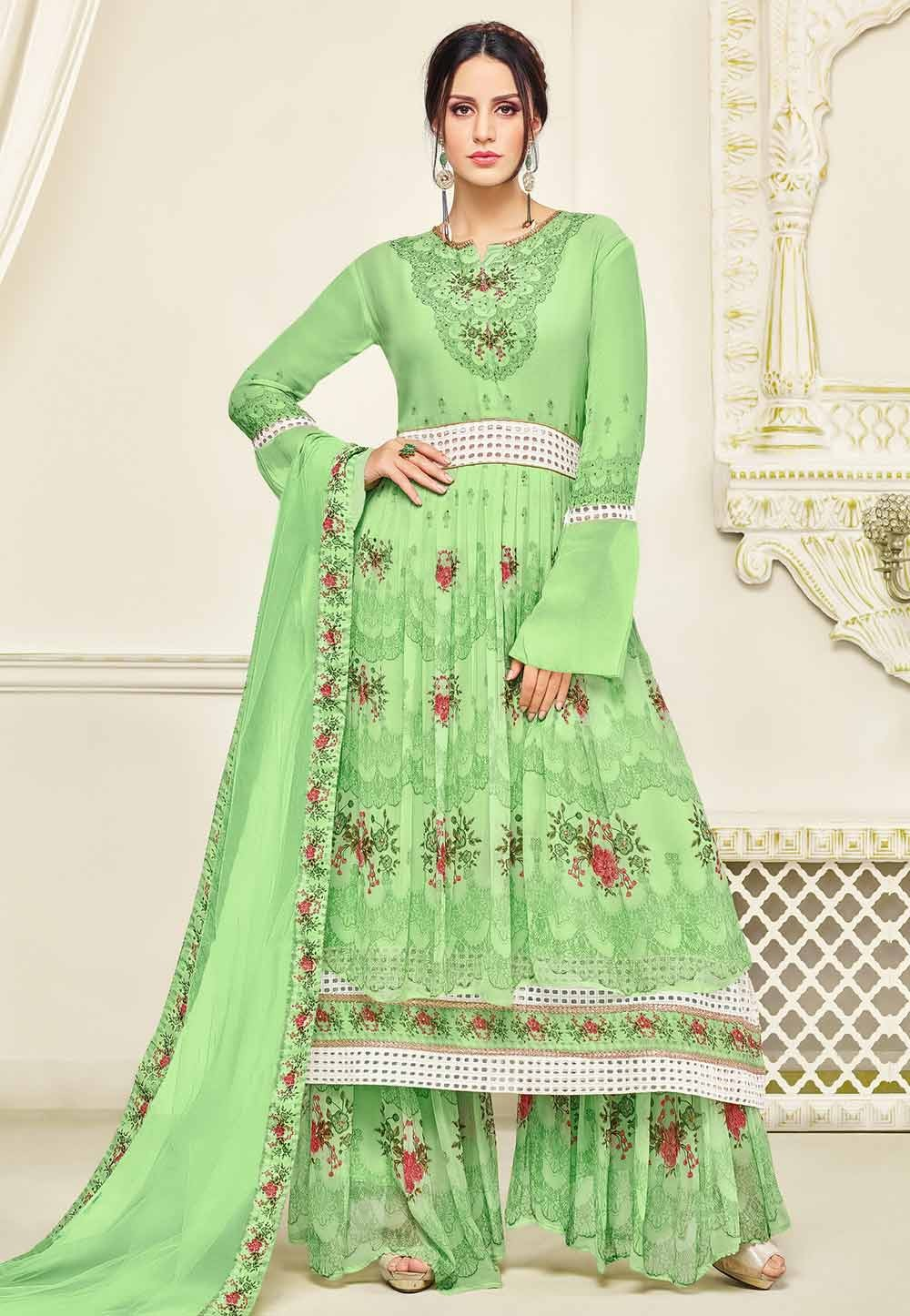 Sharara Style Green Color with Embroidery Work Wonderful Unstitched Salwar Kameez