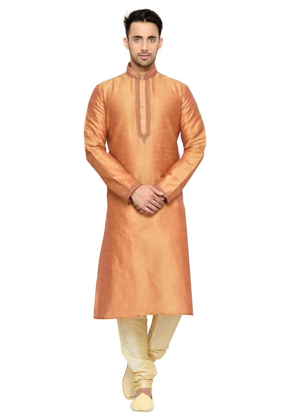 Traditional Look Orange Color Dupion Silk Readymade Kurta Pajama.