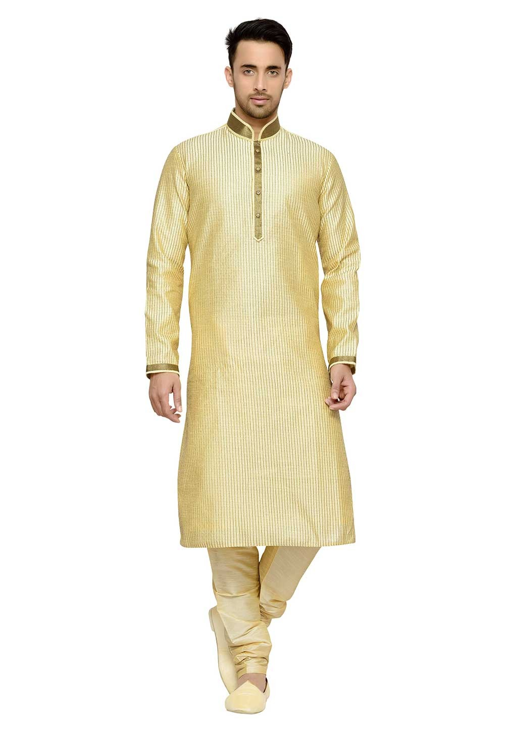 Golden Color Dupion Silk Designer Kurta Pajama With Thread Work.