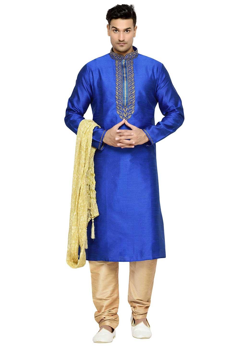 Dupion Silk Party Wear Kurta Pajama Blue Color