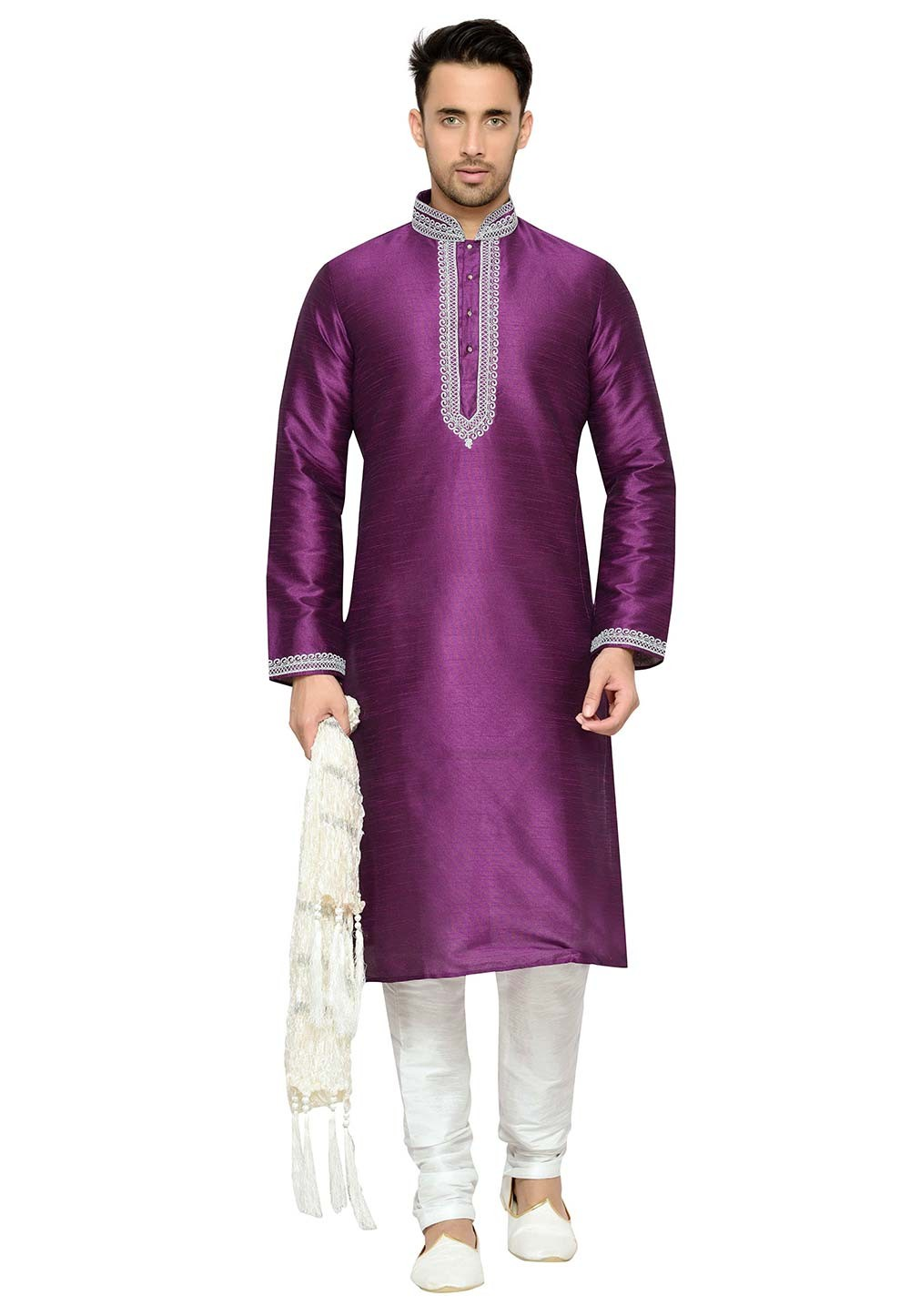 Men's Exquisite Purple Color Dupion Silk Readymade Kurta Pajama With Embroidery Work
