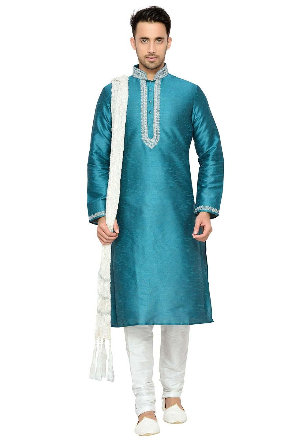 Exquisite Dupion Silk Green Color Readymade Kurta Pyjama.