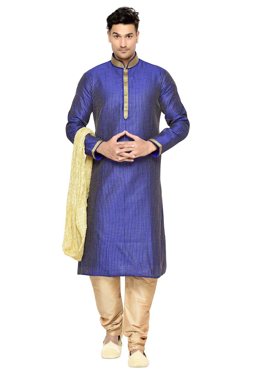 Dupion Silk Readymade Kurta Pajama in Blue Color