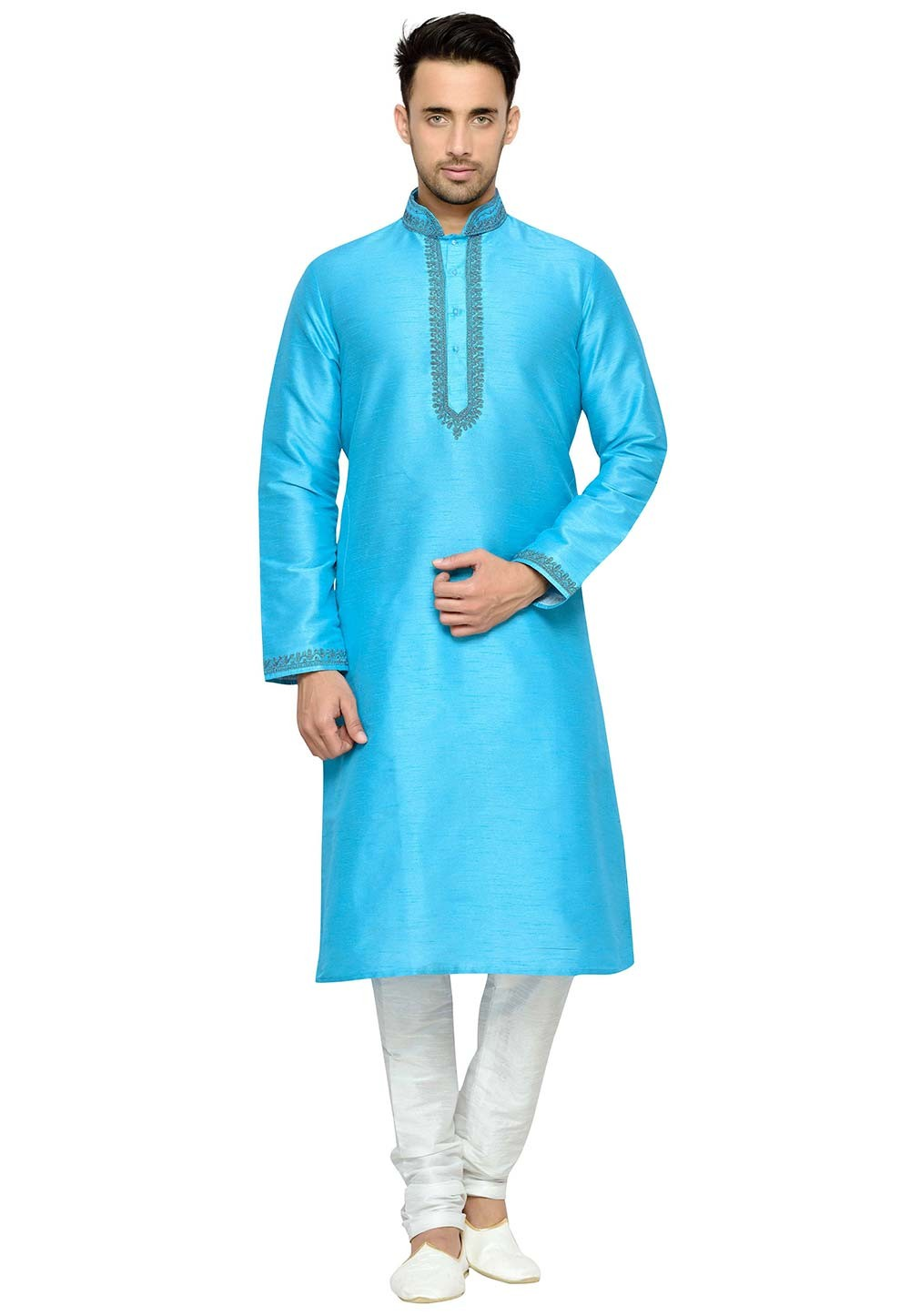 Attractive Turquoise Color Dupion Silk Readymade Kurta Pajama.