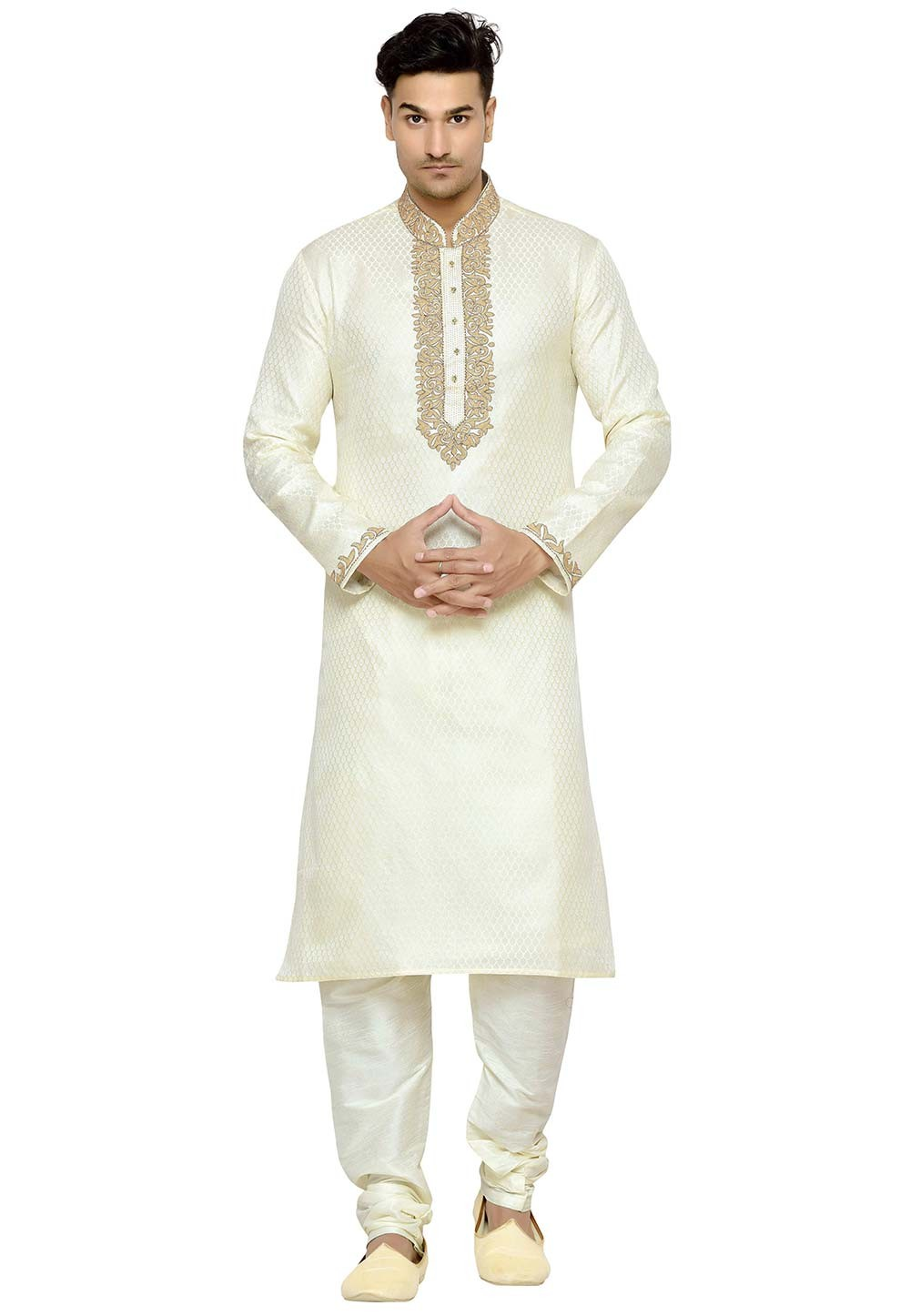 Cream Color Brocade Fabric Designer Kurta Pajama With Embroidery work