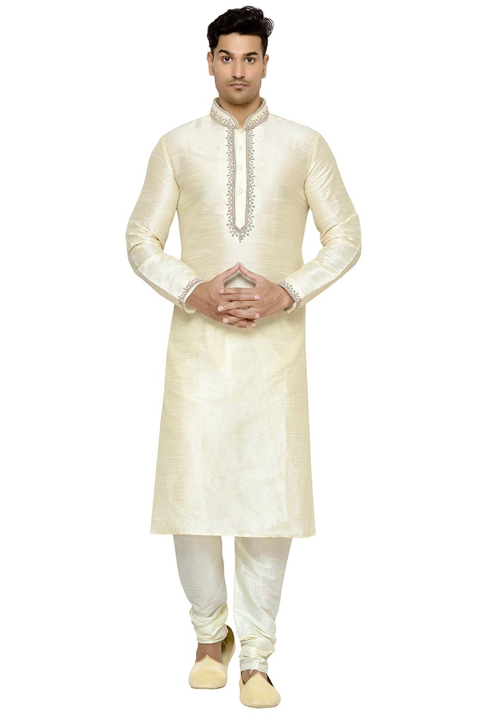 Cream Color Dupion Silk Readymade Kurta Pajama.