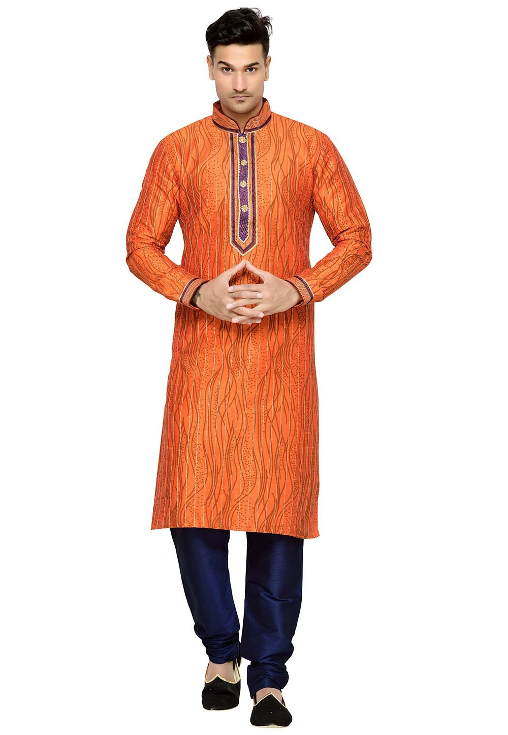 Attractive Orange Color Dupion Silk Fabric Designer Kurta Pajama.