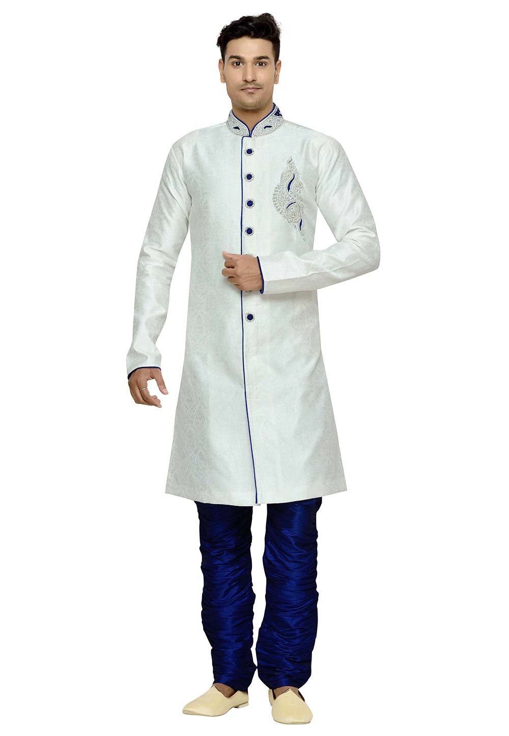 Men's Exquisite Off White Color Brocade Fabric Party Wear Kurta Pajama With Hand Work.
