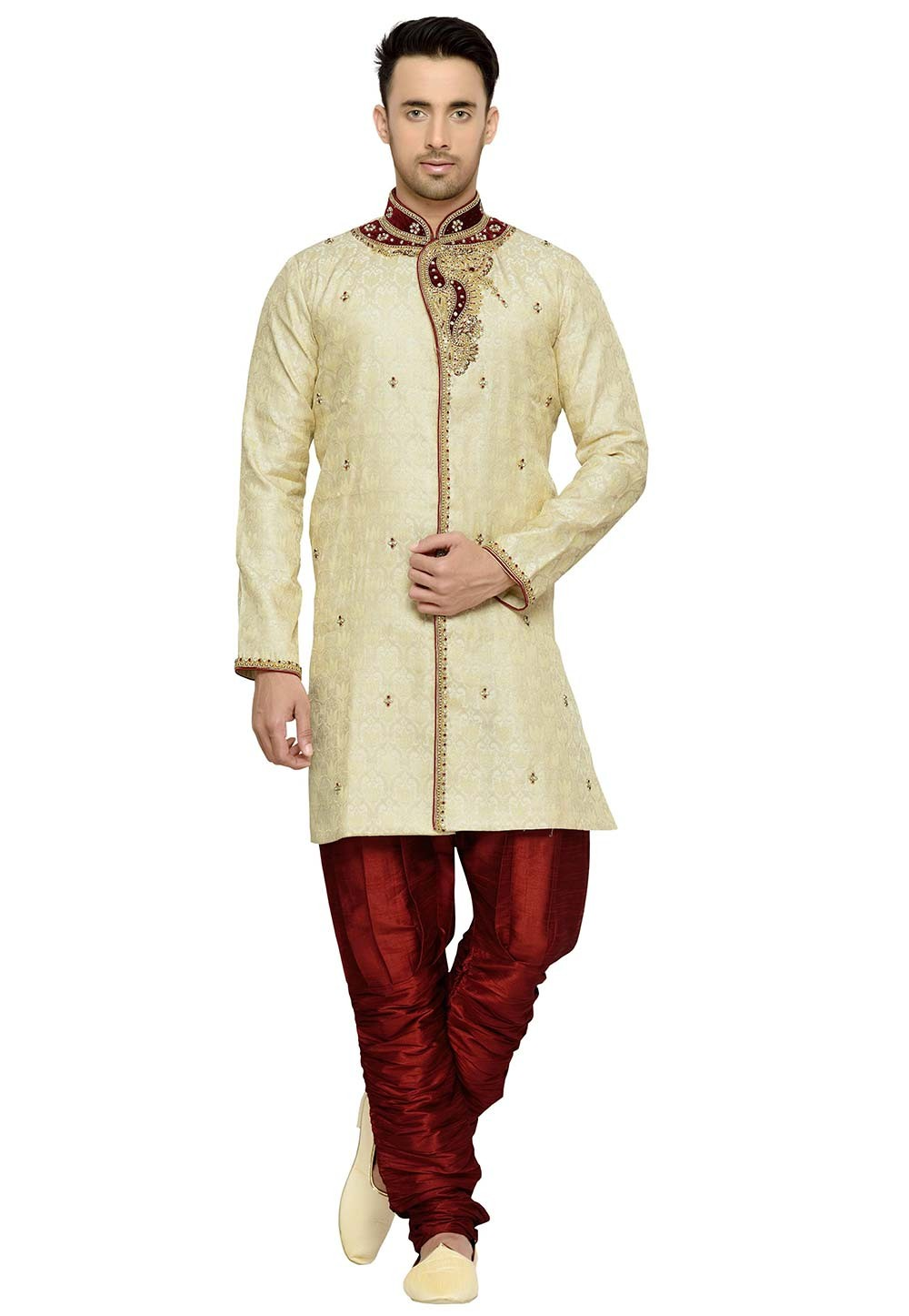 Golden Color Brocade Fabric Readymade Kurta Pyjama.