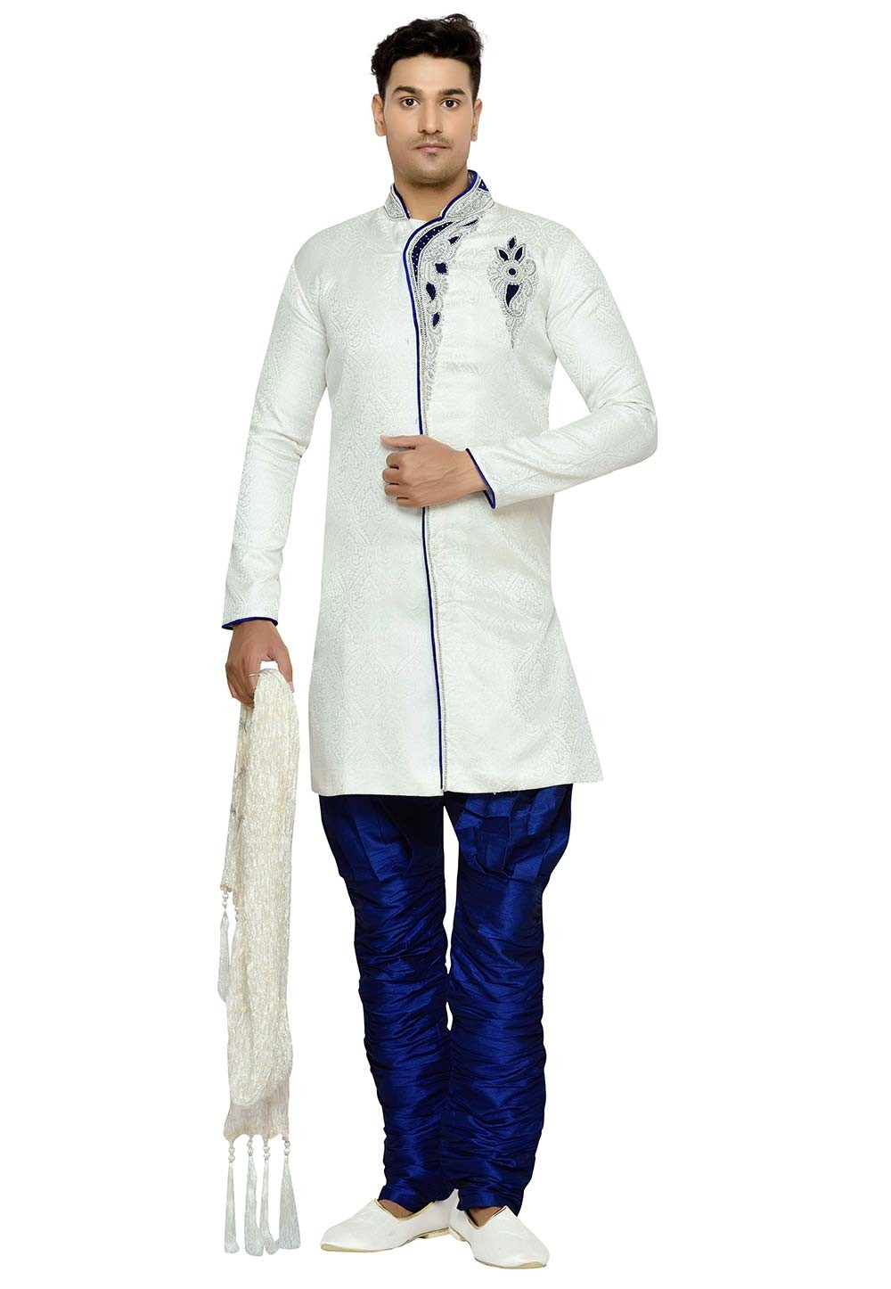 Off White Color Brocade Fabric Readymade Kurta Pyjama With Hand Work.