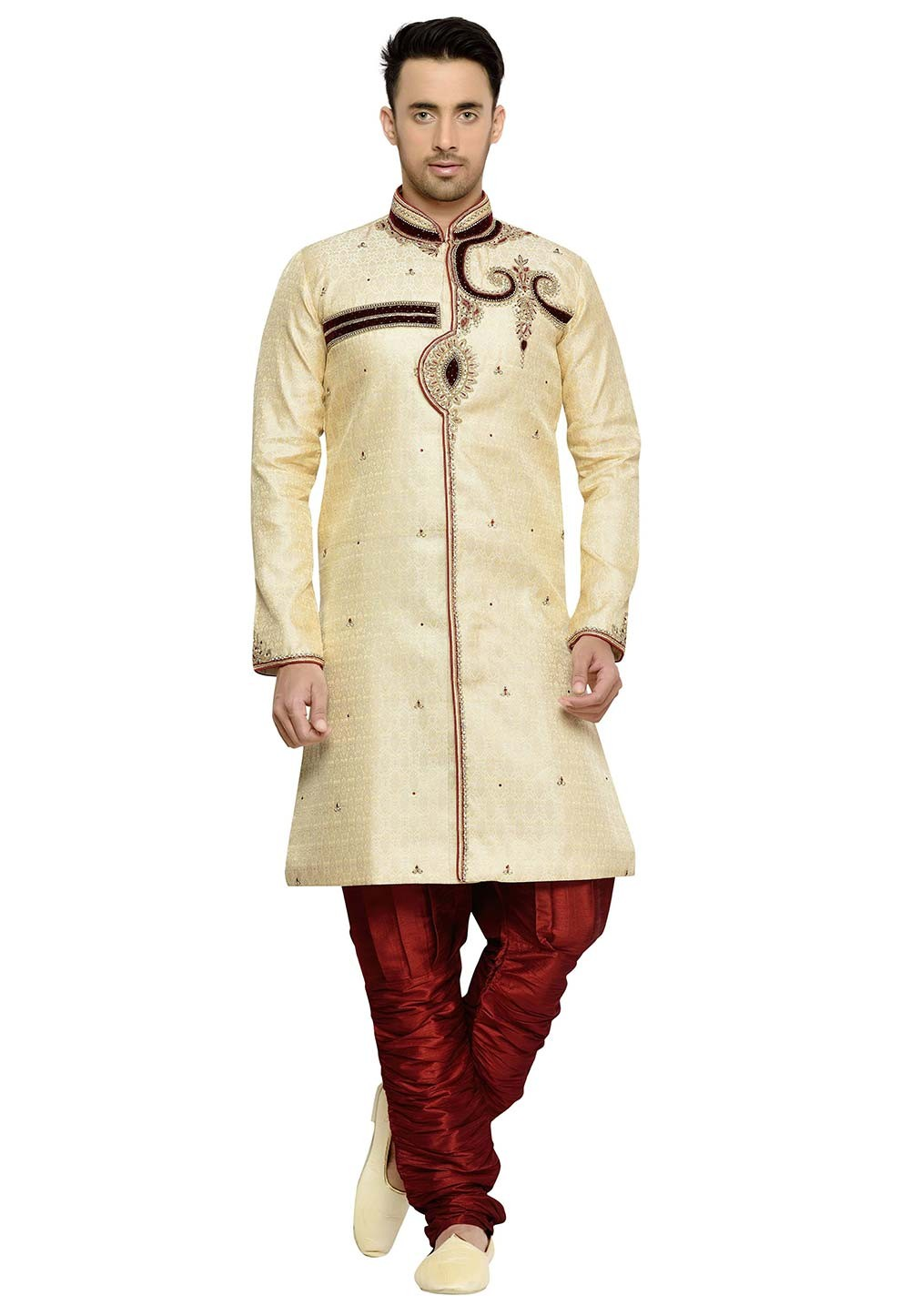 Brocade Fabric Designer Kurta Pyjama in Golden Color