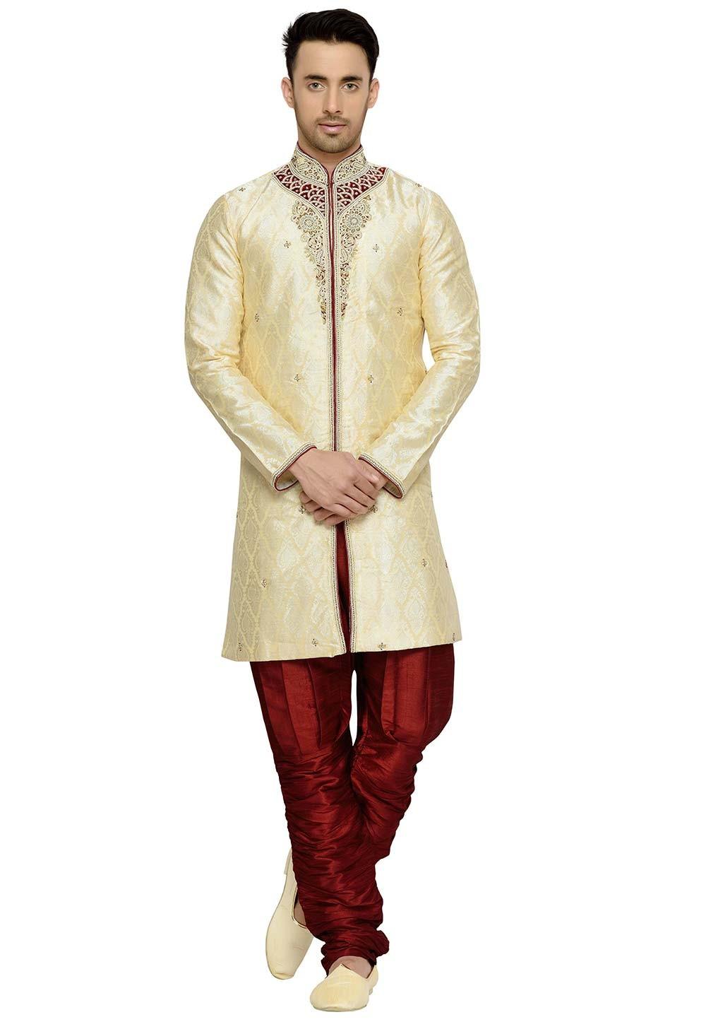 Golden Color Brocade Fabric Readymade Kurta Pyjama.