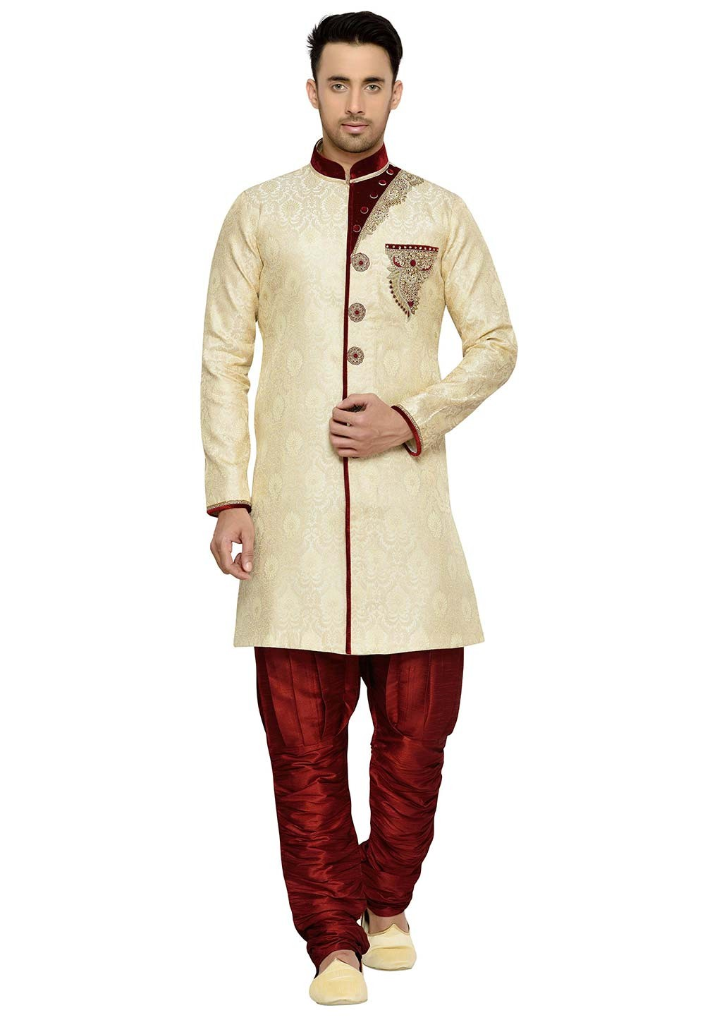 Golden Color Brocade Fabric Indian Wedding Kurta Pajama With Hand Work.