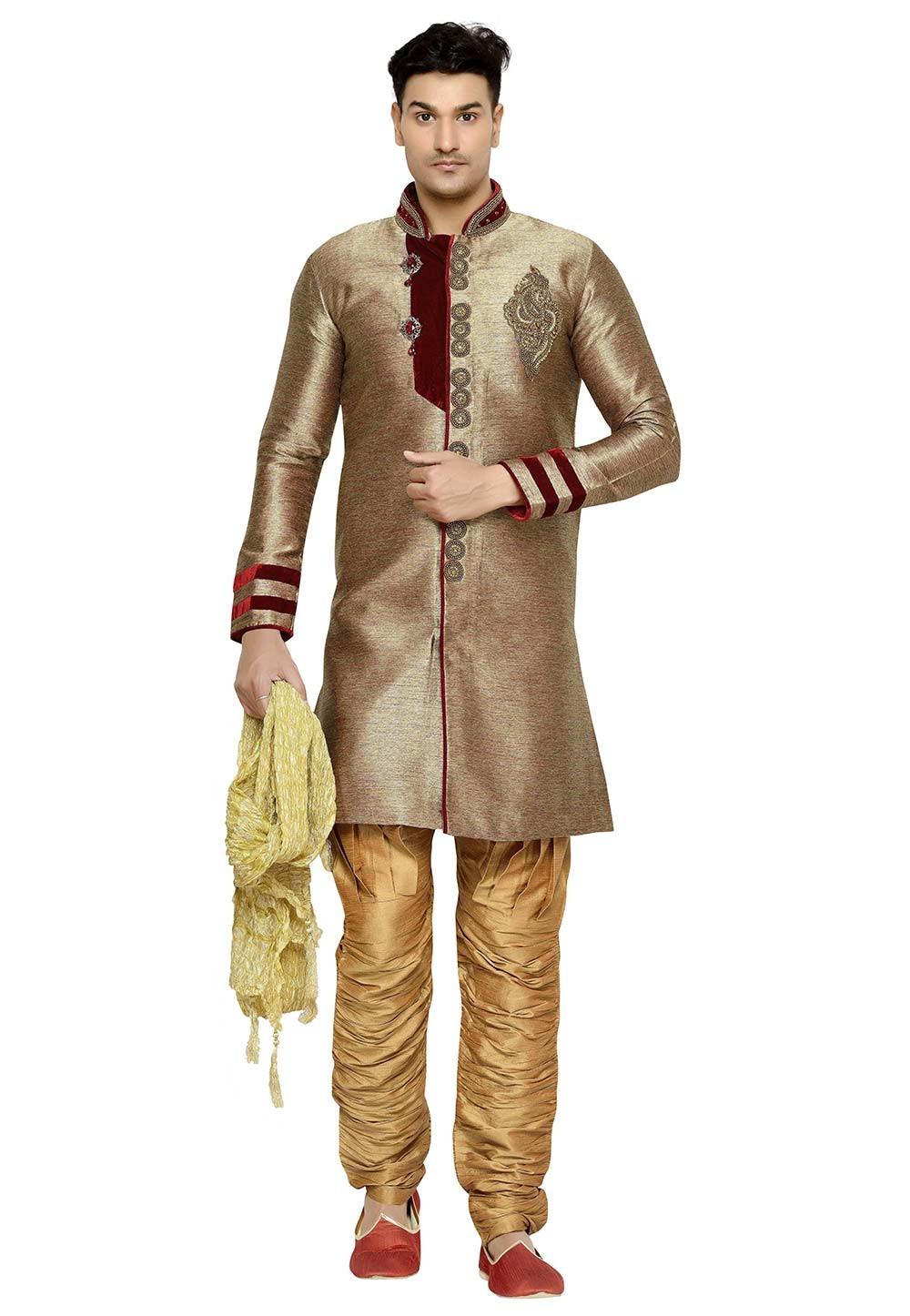 Brown Color Brocade Fabric Designer Kurta Pyjama.