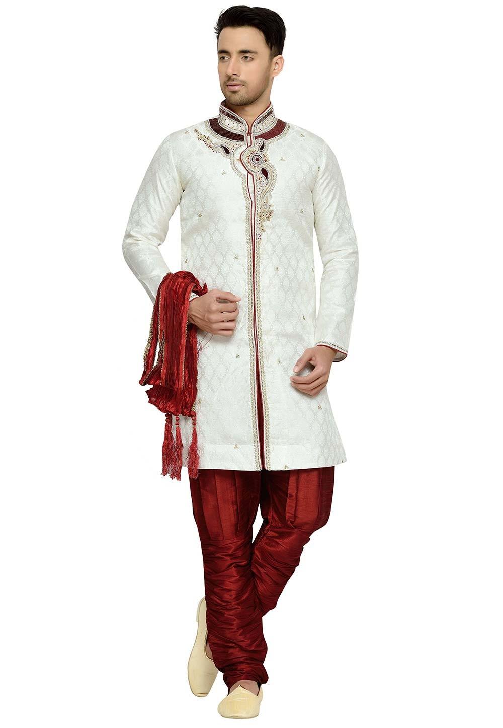 Off White Color Brocade Fabric Readymade Kurta Pyjama.