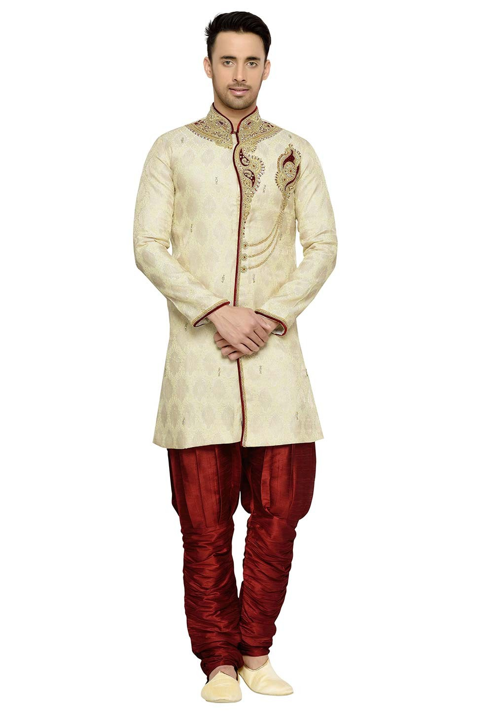 Golden Color Brocade Fabric Indian Designer Kurta Pyjama.