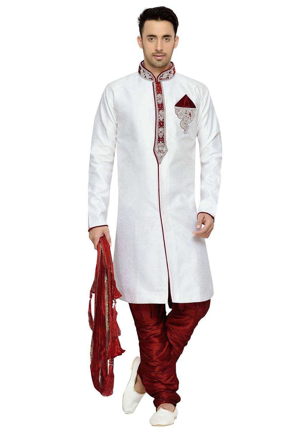 Off White Color Brocade Fabric Party Wear Kurta Pyjama.
