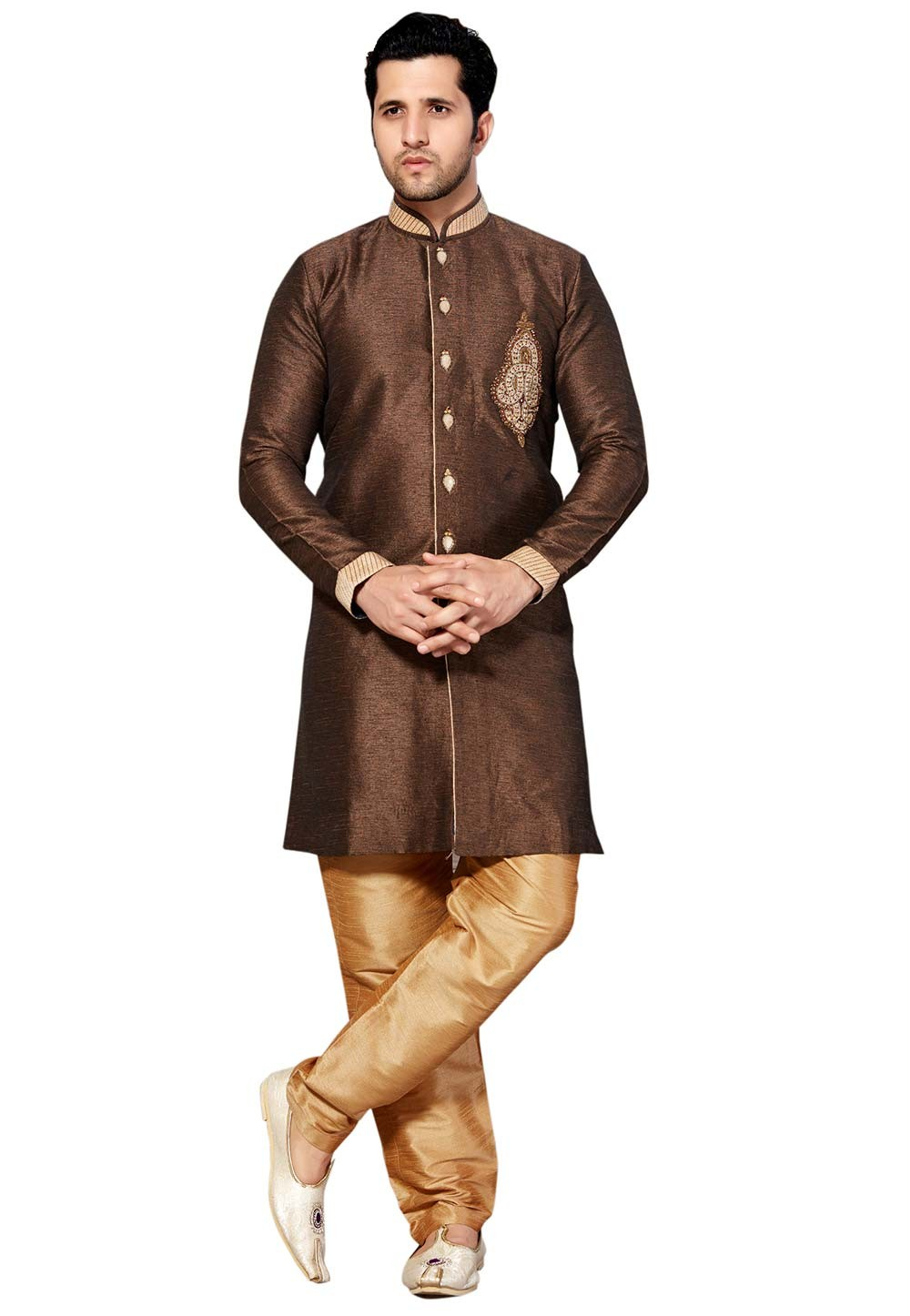Exquisite Brown Color Silk Fabric Readymade Kurta Pyjama.