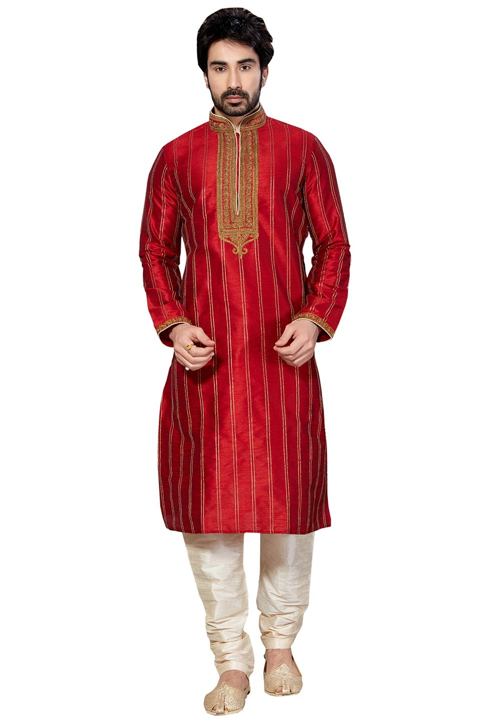 Attractive Maroon Color Dupion Silk Readymade Kurta Pajama.