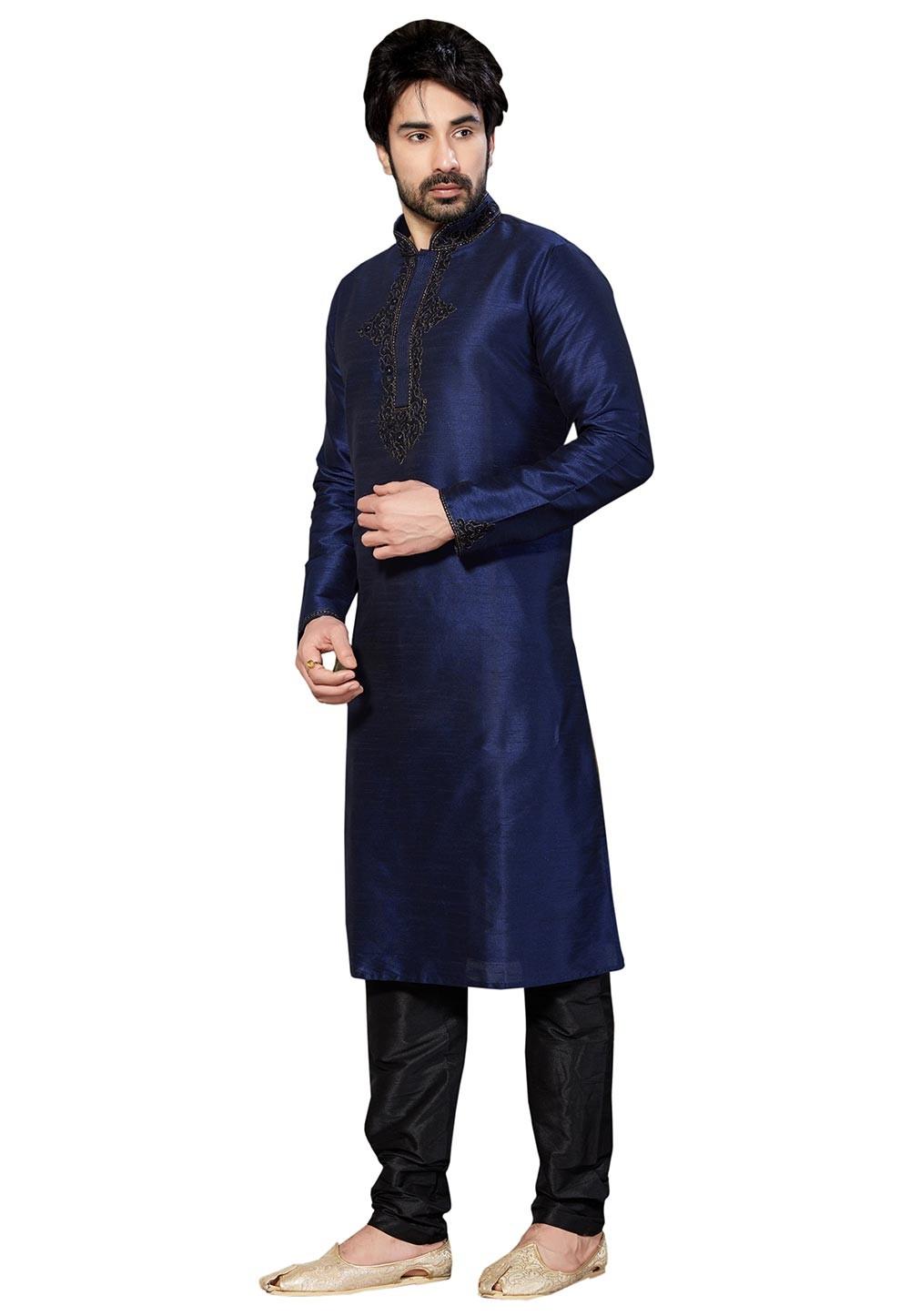 Blue Color Dupion Silk Party Wear Kurta Pajama With Thread Work.