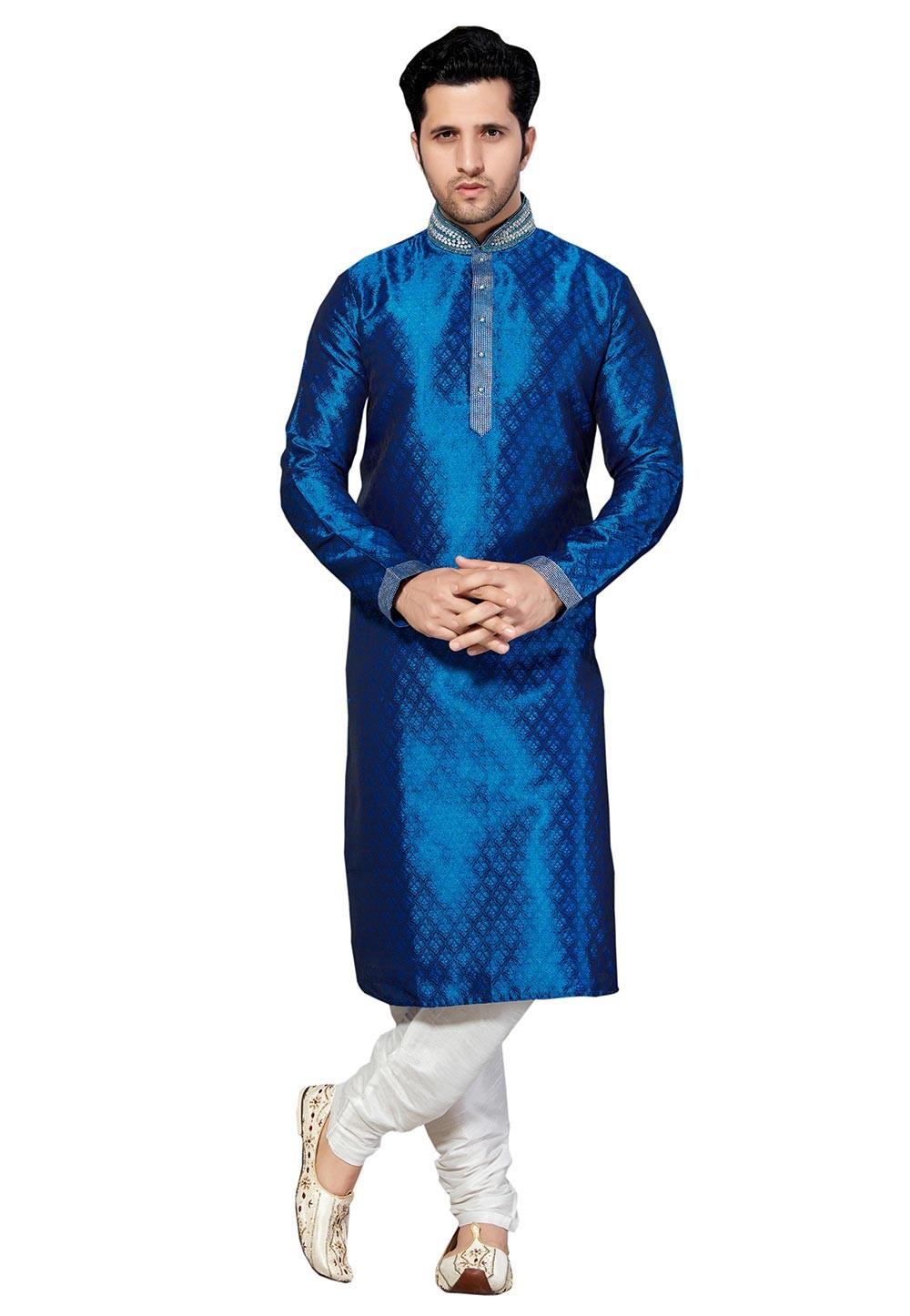 Attractive Blue Color Brocade Fabric Party Wear Kurta Pyjama.