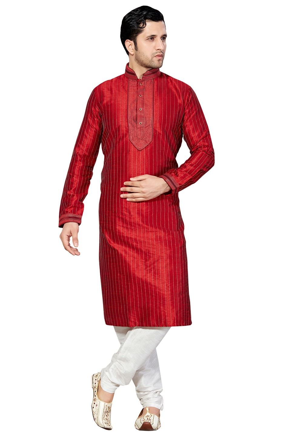 Exquisite Maroon Color Dupion Silk Readymade Kurta Pyjama.
