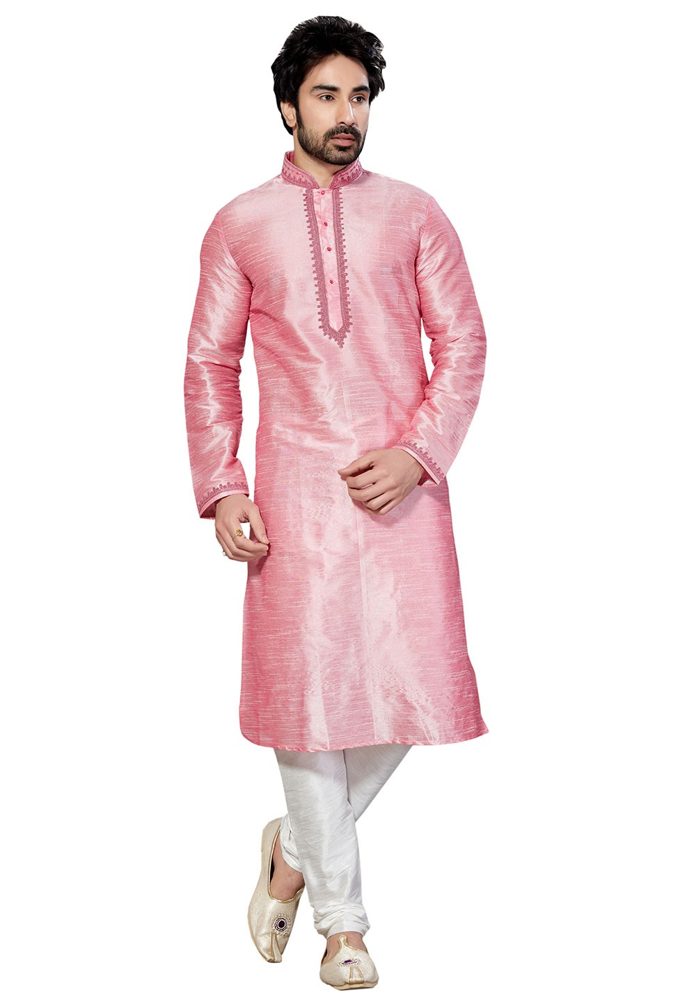Exquisite Pink Color Dupion Silk Fabric Readymade Kurta Pyjama.