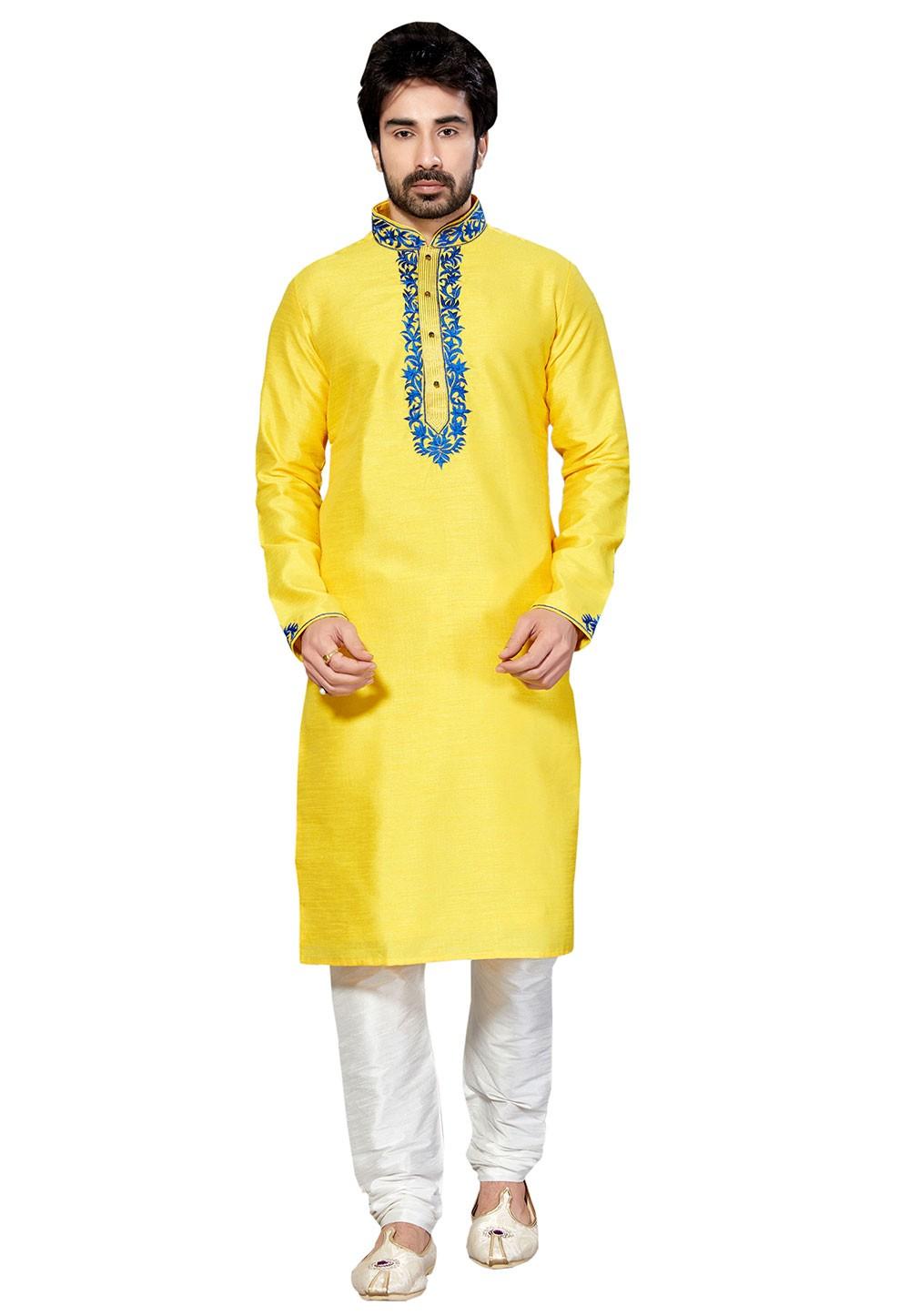 Attractive Yellow Color Dupion Silk Readymade Kurta Pajama With Thread Work.