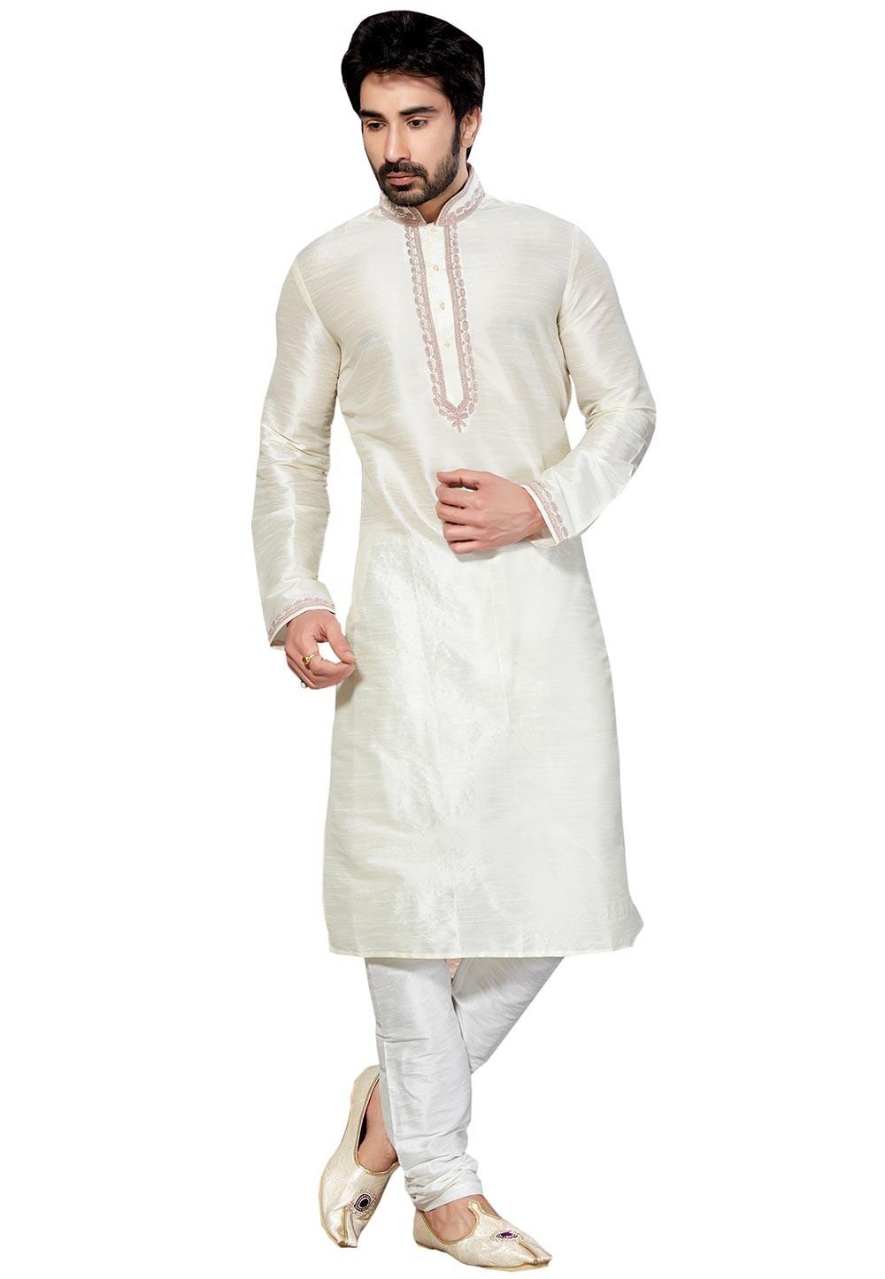 White Color Dupion Silk Readymade Kurta Pyjama.