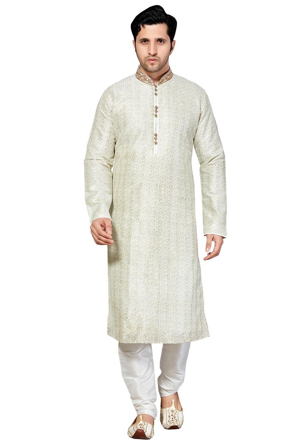 Exquisite Off White Color Dupion Silk Kurta Pajama With Thread Work.