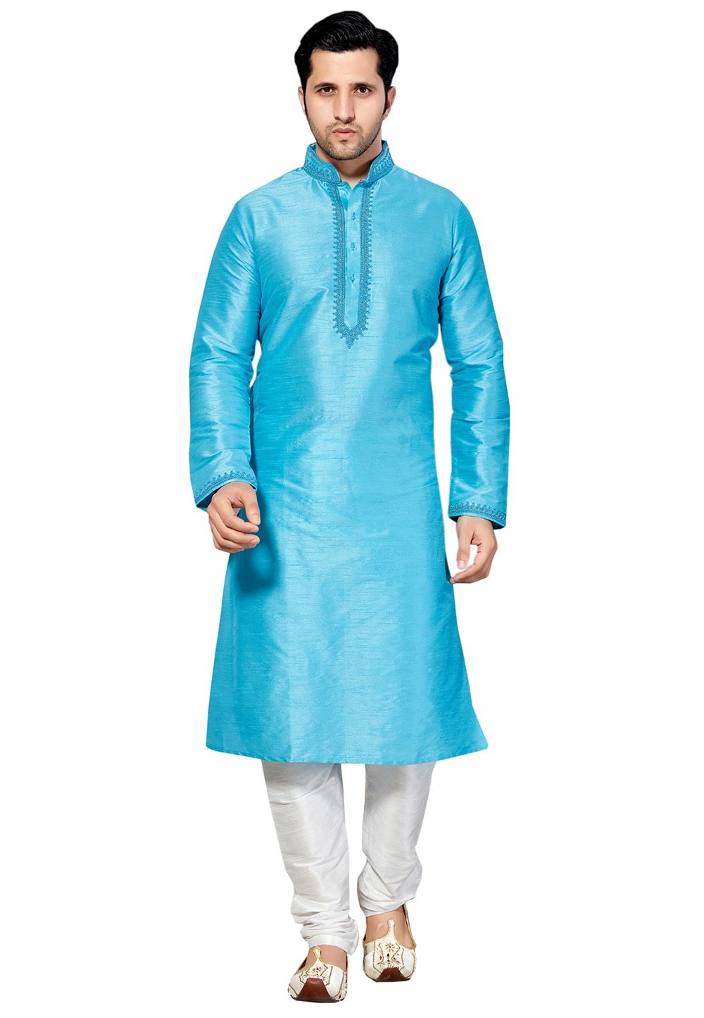 Attractive Turquoise Color Dupion Silk Readymade Kurta Pajama.