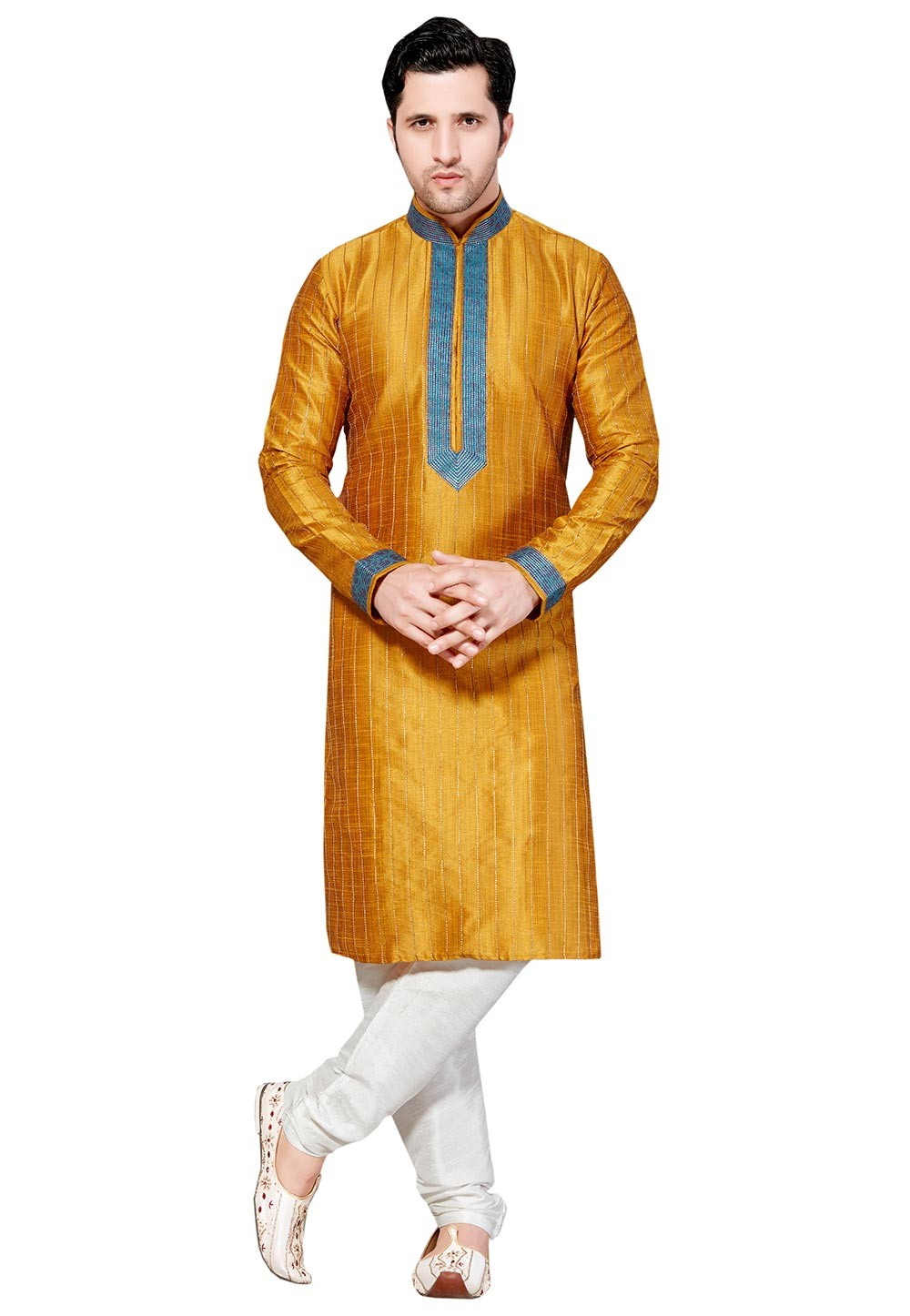 Orange,Yellow Color Silk Fabric Readymade Kurta Pajama.