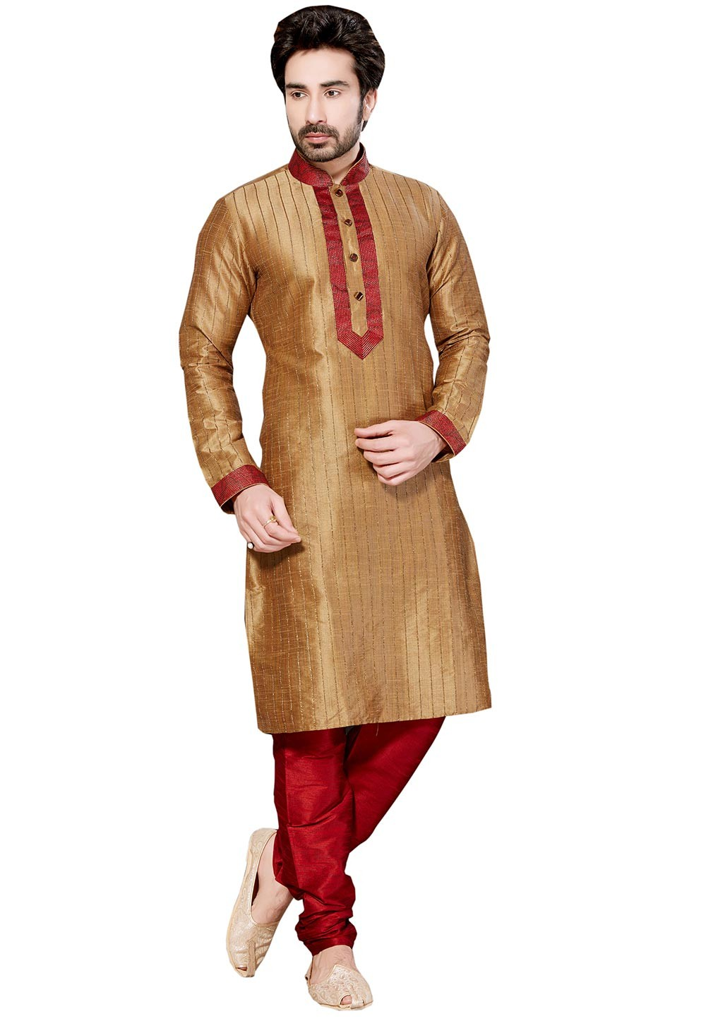 Brown Color Dupion Silk Designer Kurta Pyjama With Thread Work.