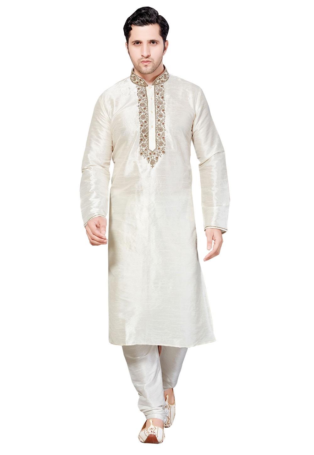 Men's Exquisite Cream Color Dupion Silk Readymade Kurta Pyjama.