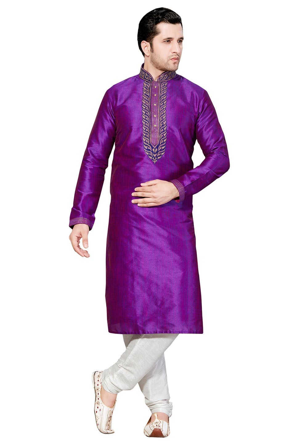 Attractive Purple Color Dupion Silk Readymade Kurta Pyjama.