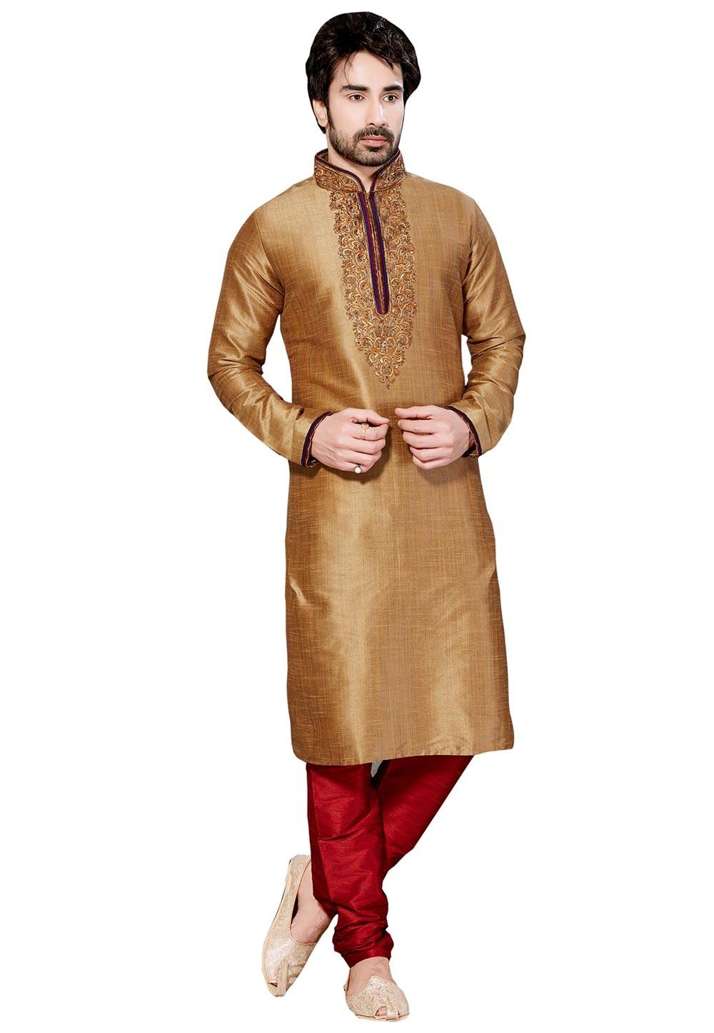Exquisite Golden Color Dupion Silk Designer Kurta Pyjama.