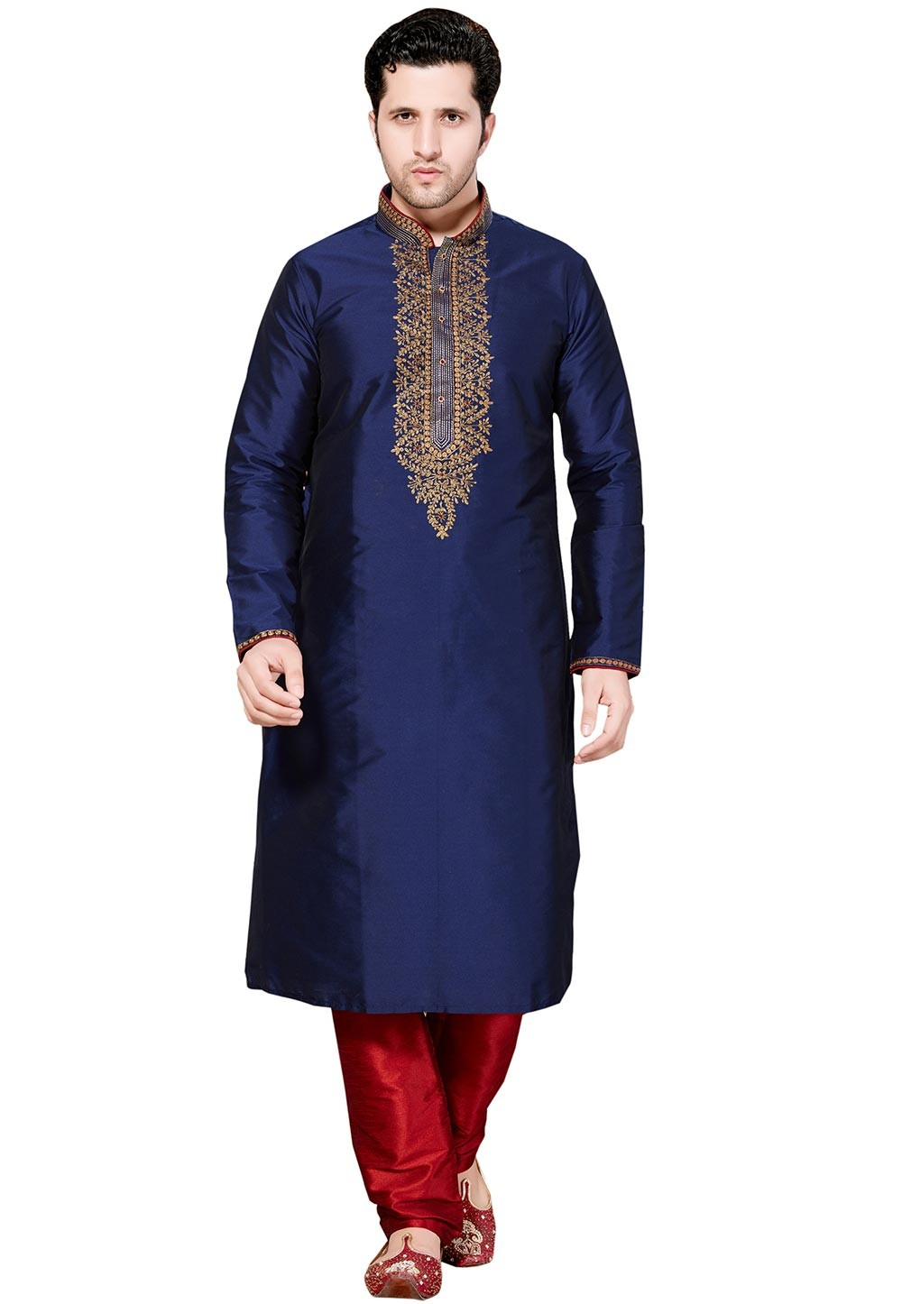 Attractive Blue Color Imported Fabric Party Wear Kurta Pyjama.