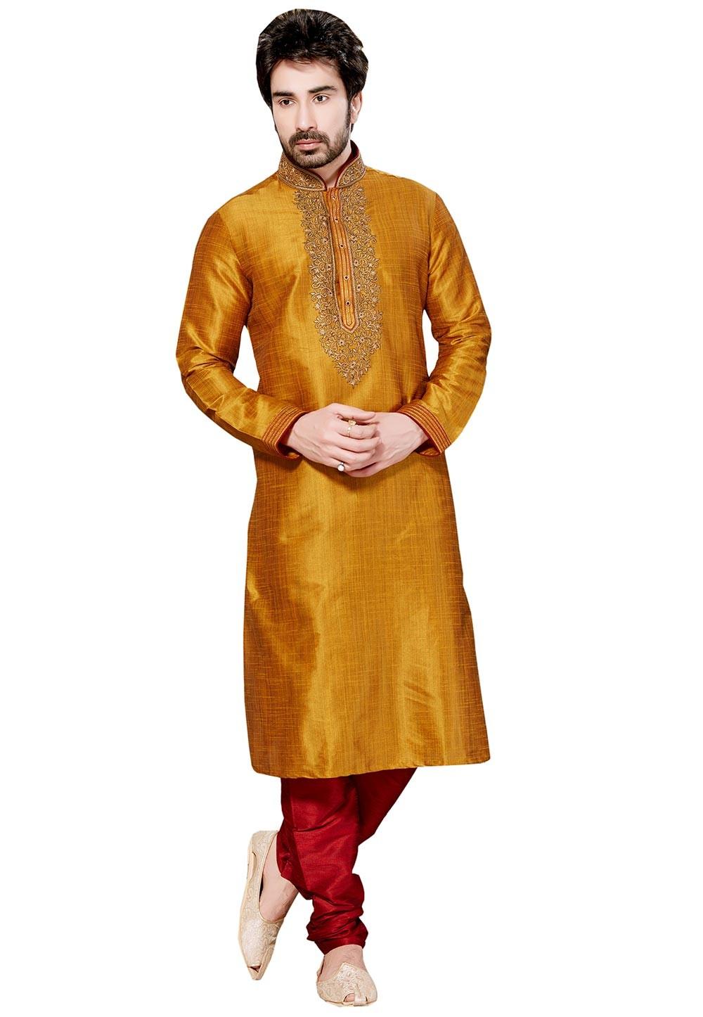 Men's Attractive Golden Color Silk Fabric Designer Kurta Pyjama.