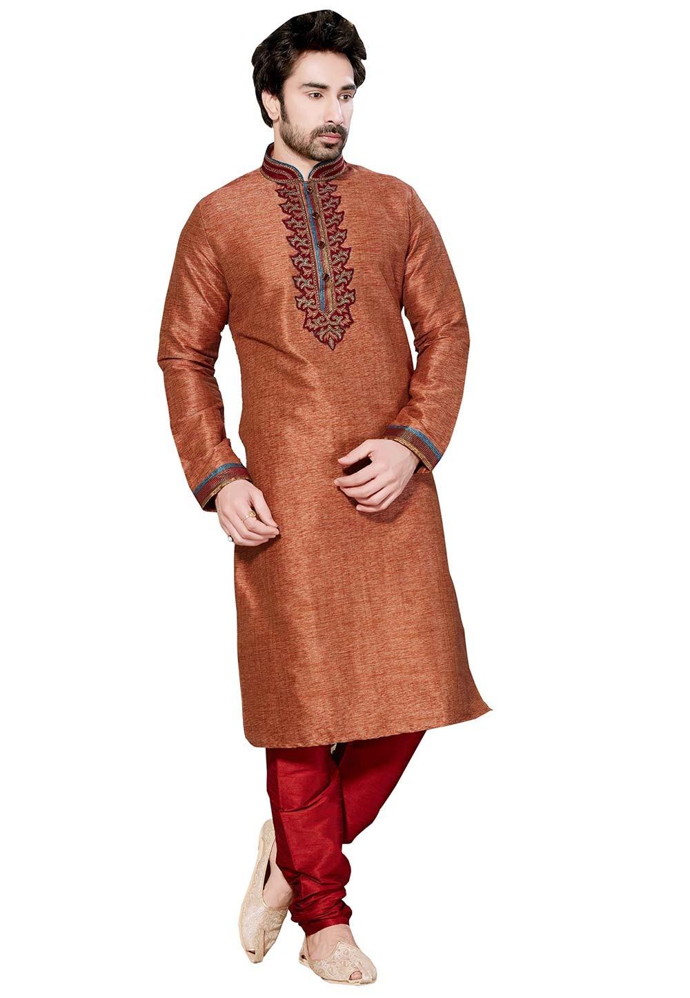 Maroon Color Silk Fabric Readymade Kurta Pyjama.