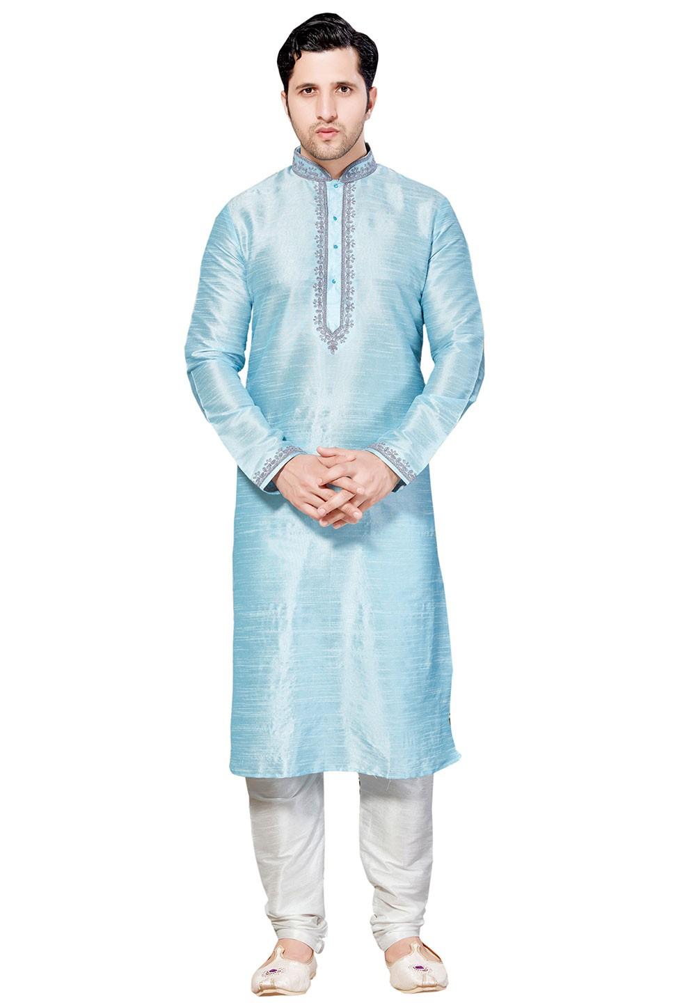 Band Collar Cotton Silk Readymade Kurta Set