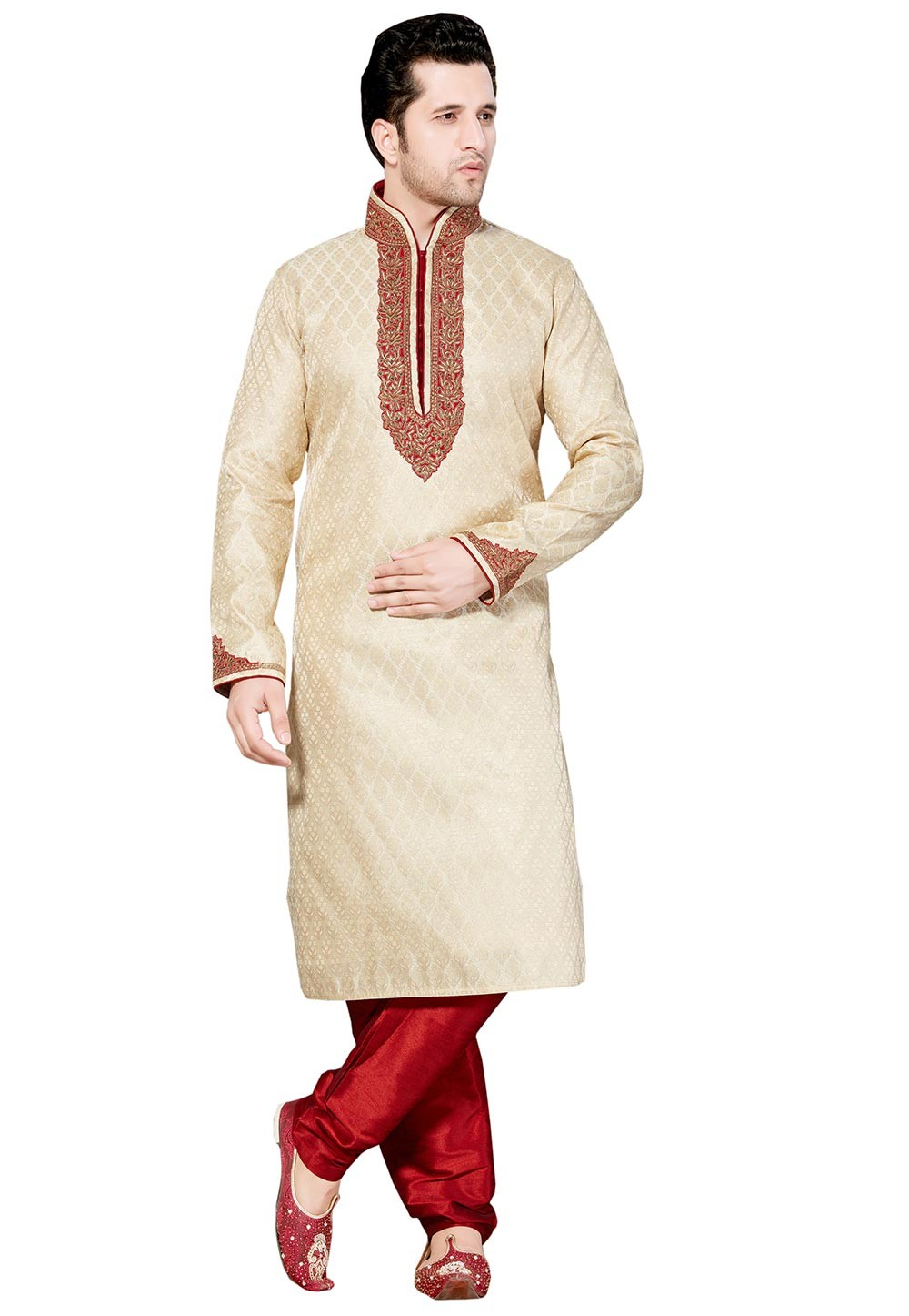 White Color with Thread Boy's Readymade Kurta Set