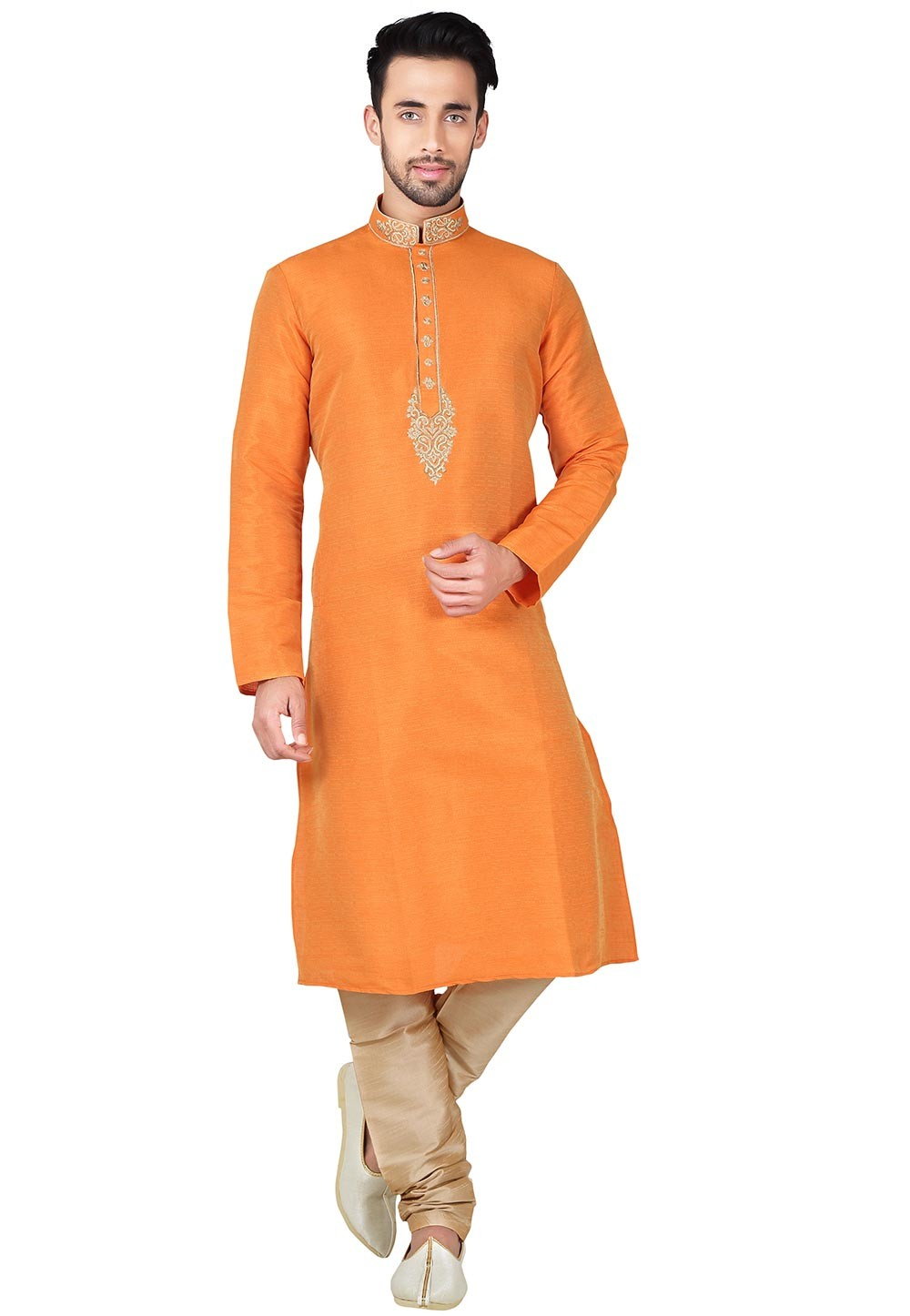 Boy's Brown Color with Thread Readymade Kurta Set