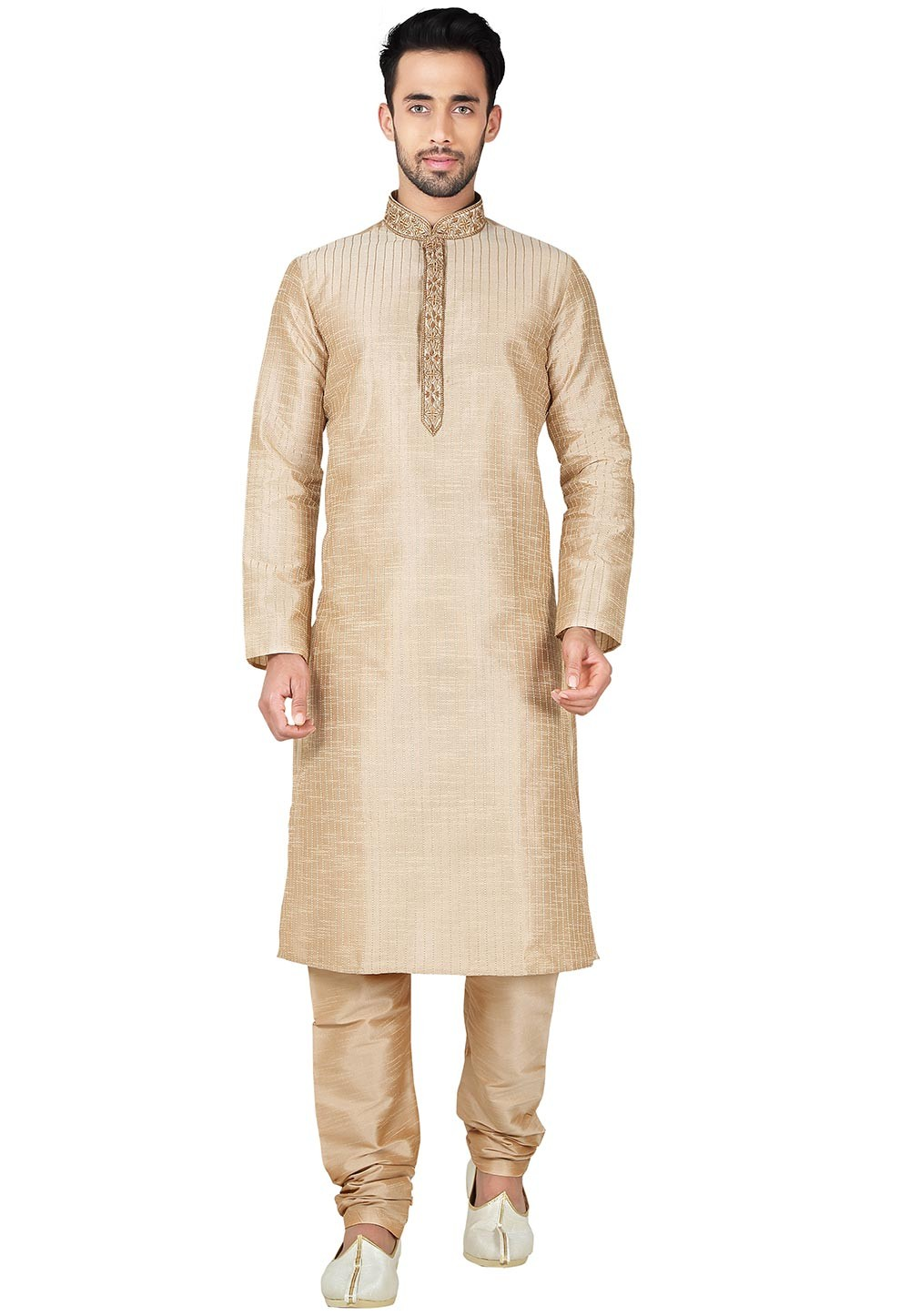 Boy's Cream Color with Thread Readymade Kurta Set
