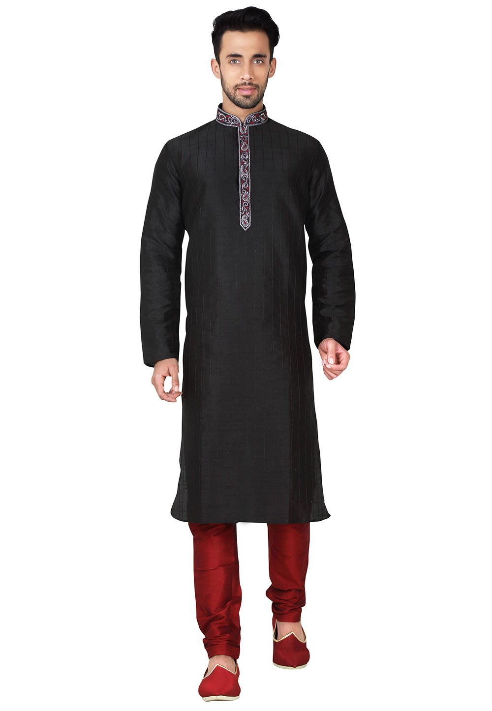 Black Color Art Silk Party Wear Kurta Pyjama With Embroidery Work.