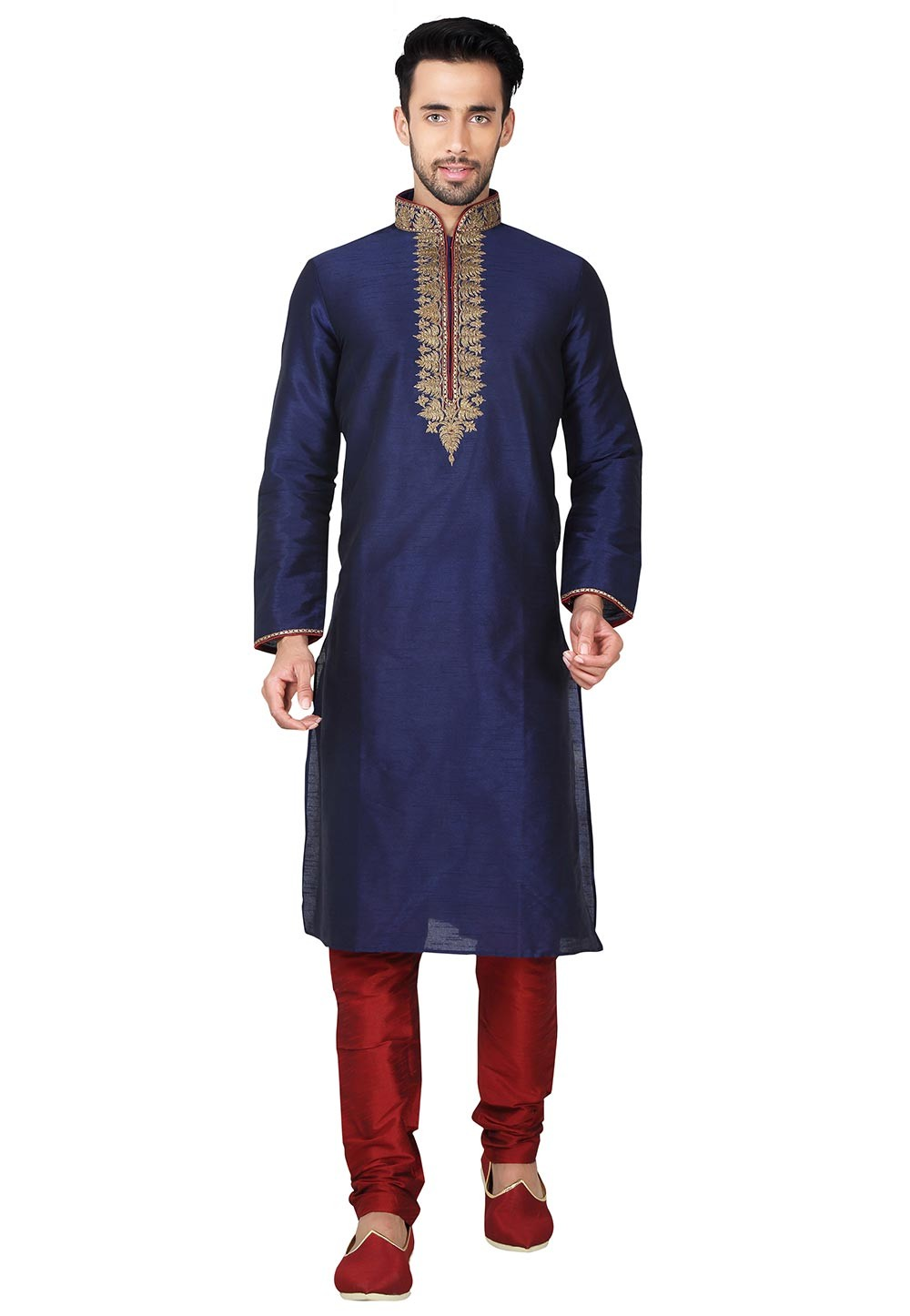 Exquisite Blue Color With Embroidery Work Readymade Kurta Pajama.