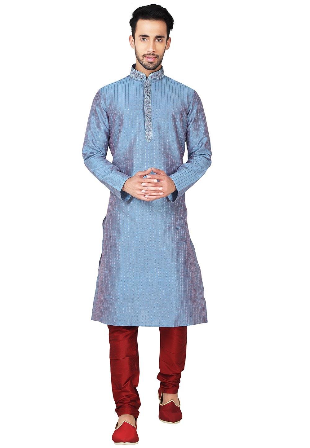 Exquisite Green Color Art Silk Fabric Readymade Kurta Pajama With Thread Work.